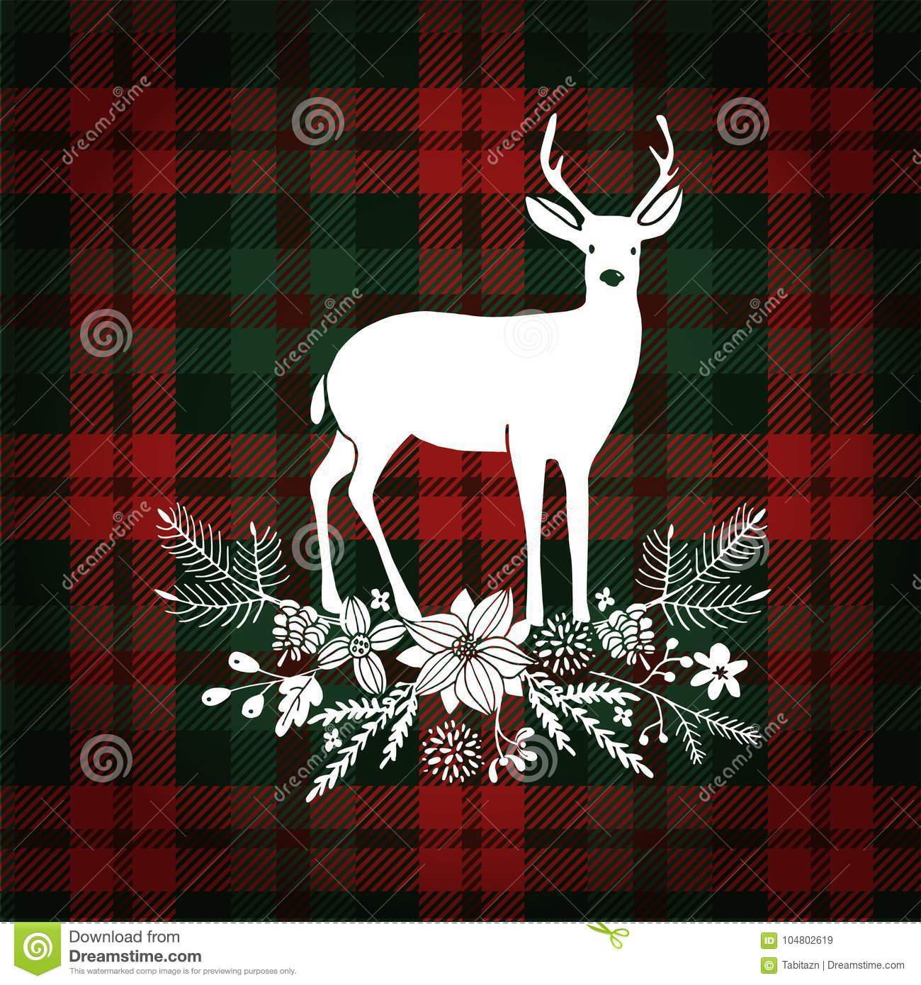 Merry Christmas Greeting Card, Invitation. Deer With Christmas ...