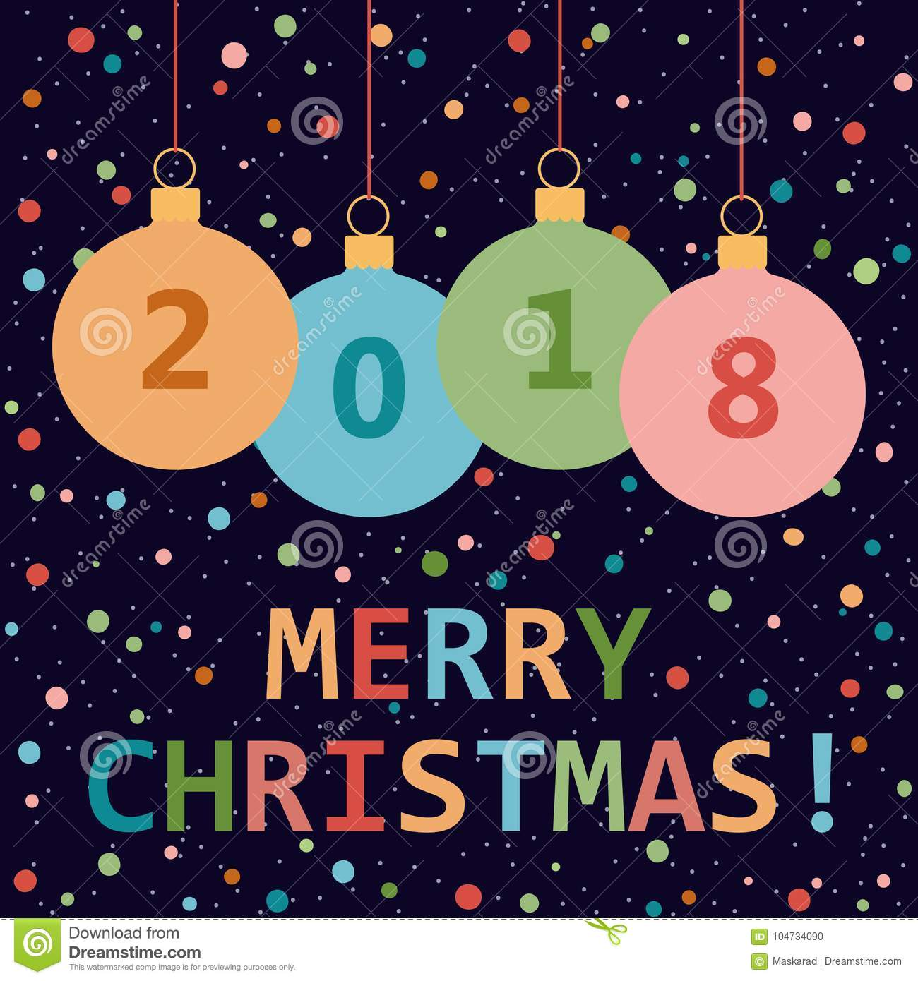 Merry Christmas Greeting Card By 2018 The New Year Stock Vector