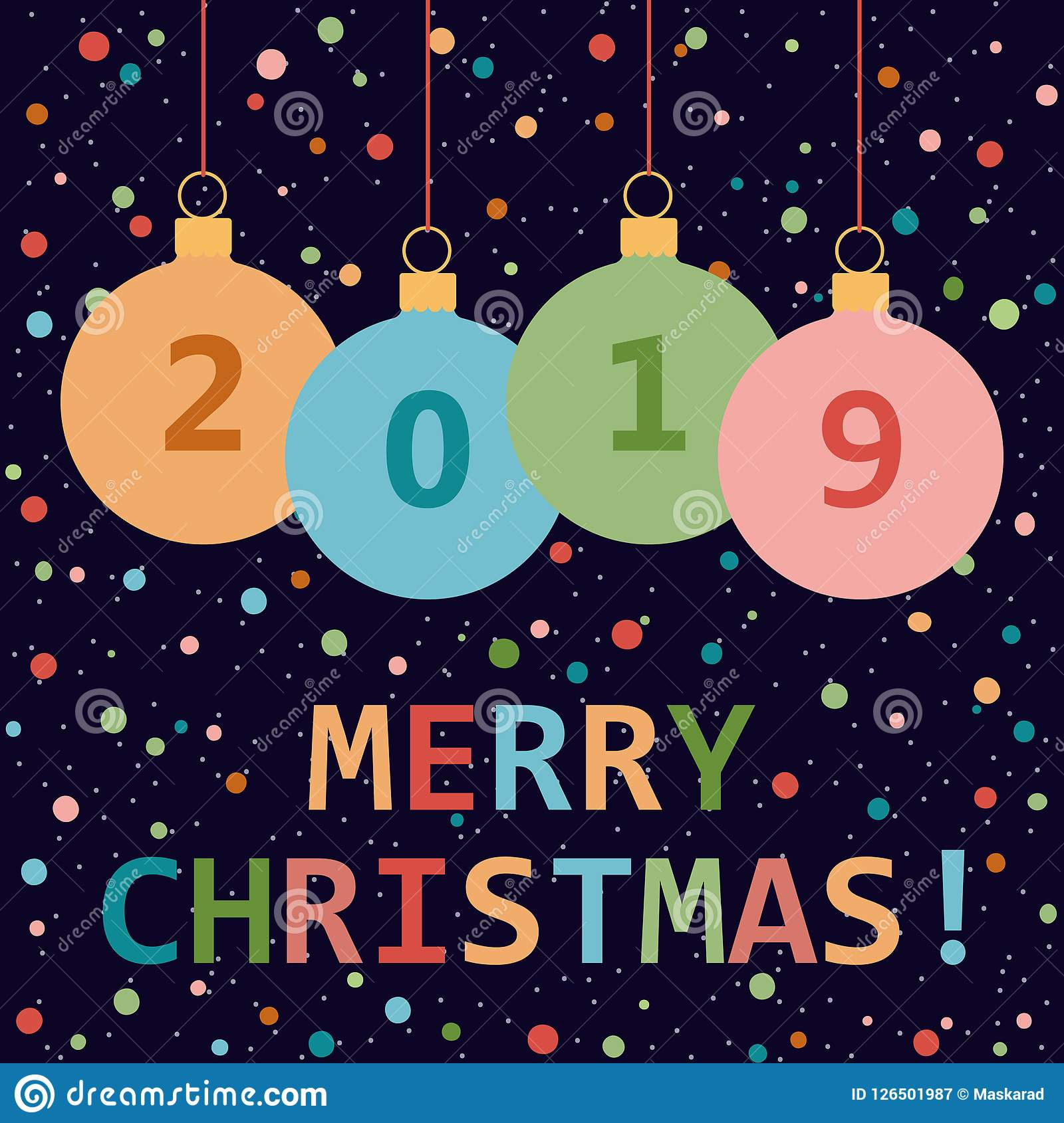 Merry Christmas Greeting Card By 2019 The New Year Stock