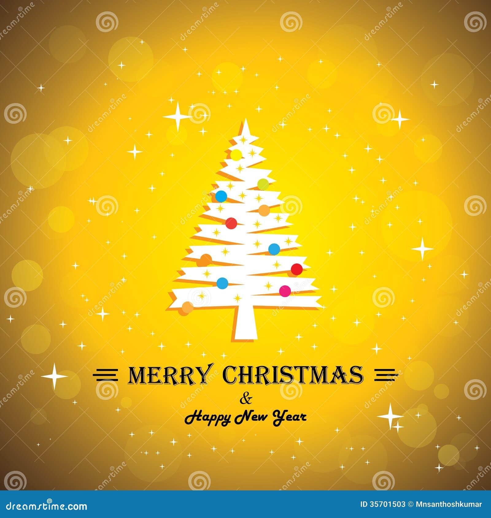 Merry Christmas Greeting Card Poster Xmas Tree Stock Vector