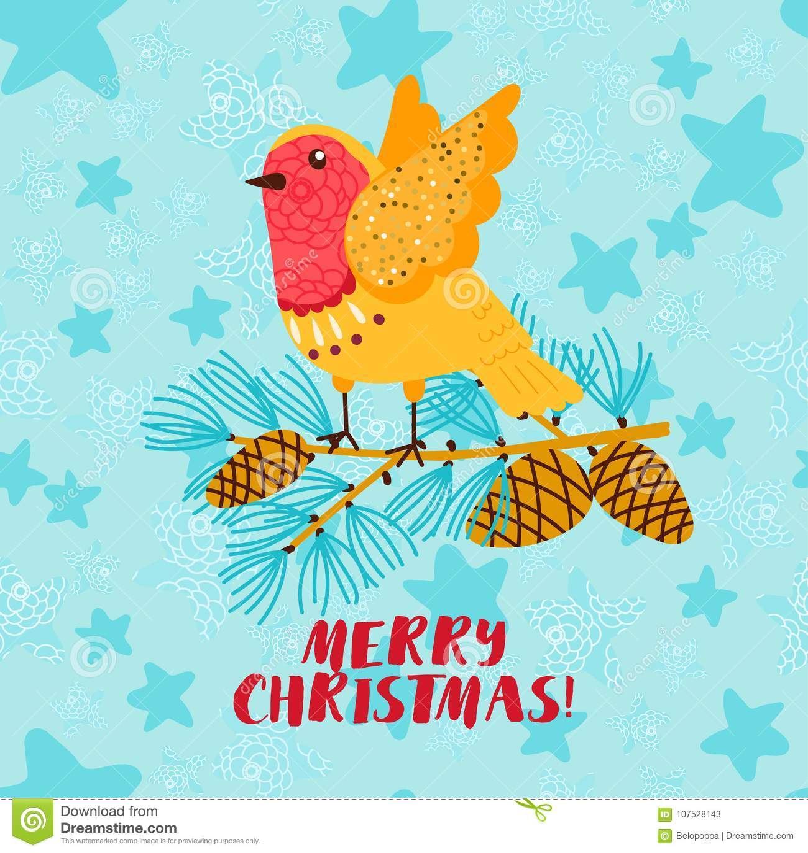 Merry Christmas Greeting Card With Robin Bird Stock Vector