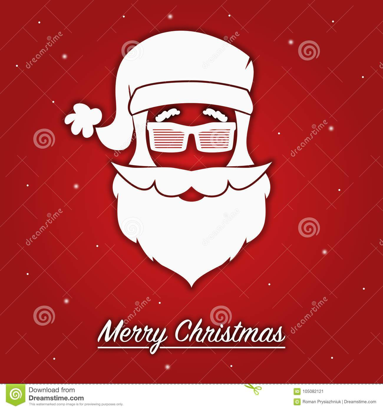 Merry Christmas Greeting Card With Silhouette Of Head Santa Claus In ...