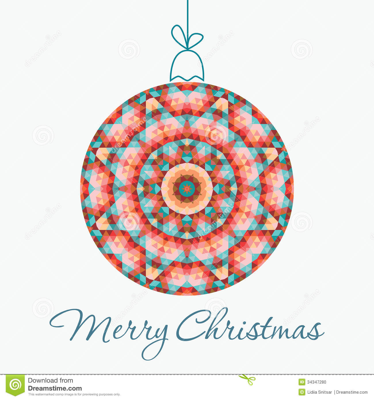 Merry Christmas Greeting Card with snowball made of triangles ...