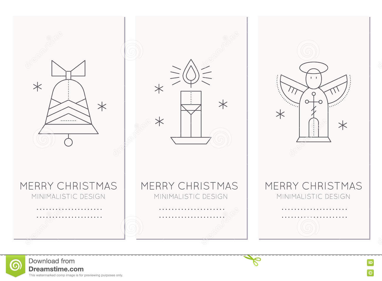 Merry Christmas Greeting Card Template With Holiday Symbols Stock