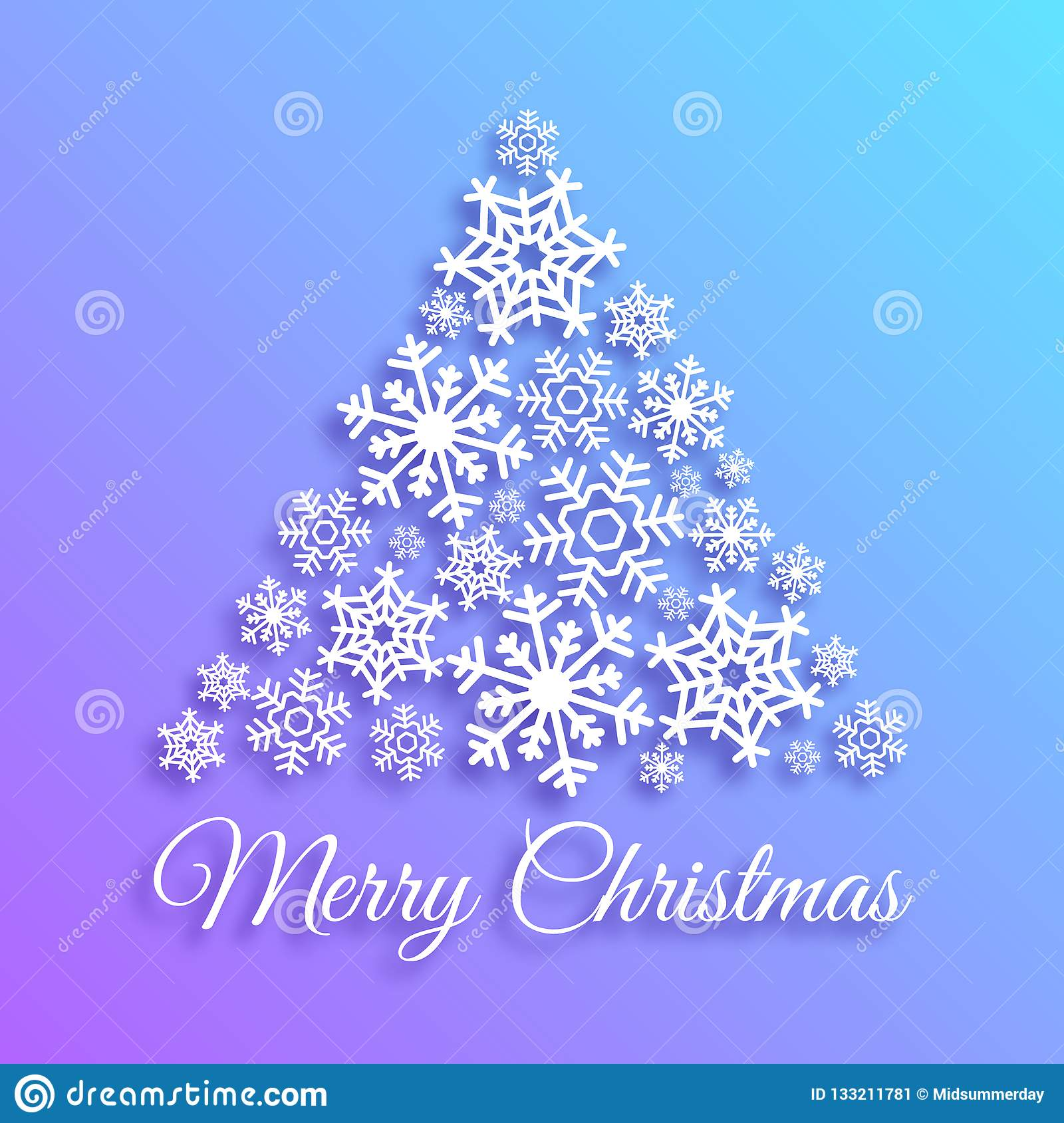 Merry Christmas greeting card with christmas tree made of white snowflakes. Xmas vector background template. Elegant