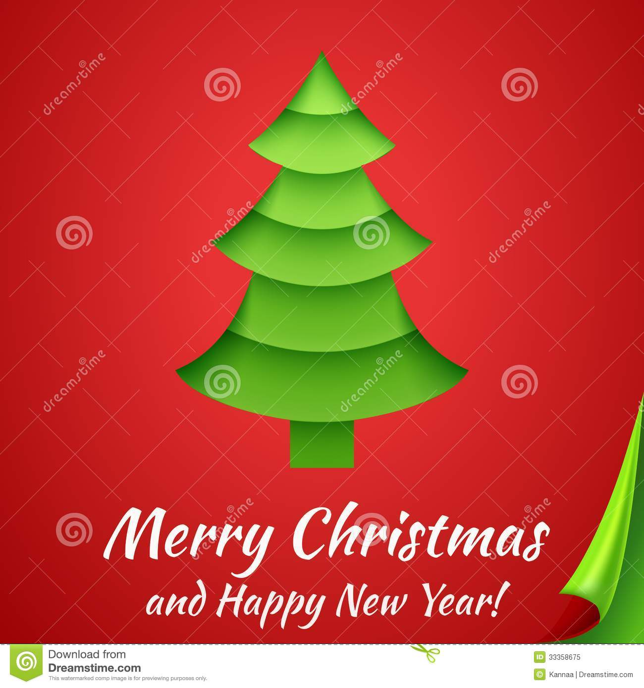 Merry Christmas Greeting Card With Tree. Vector Stock Vector ...