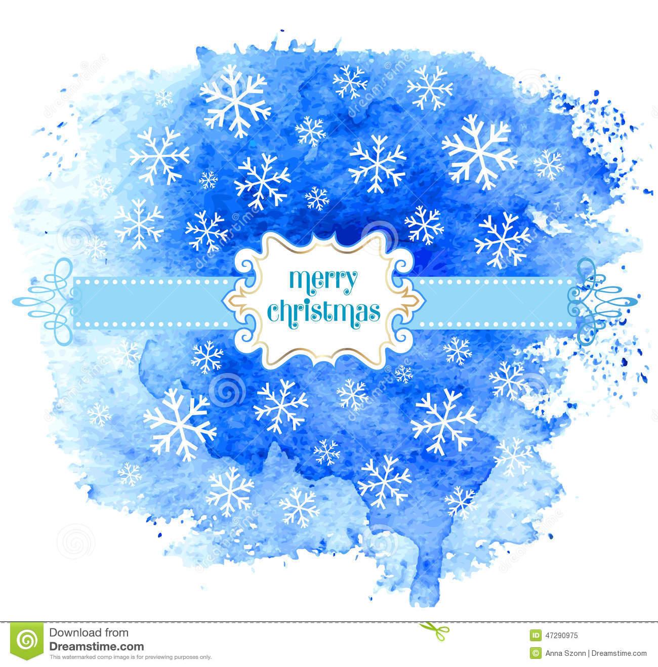 Merry Christmas greeting card with watercolor background. Vector.