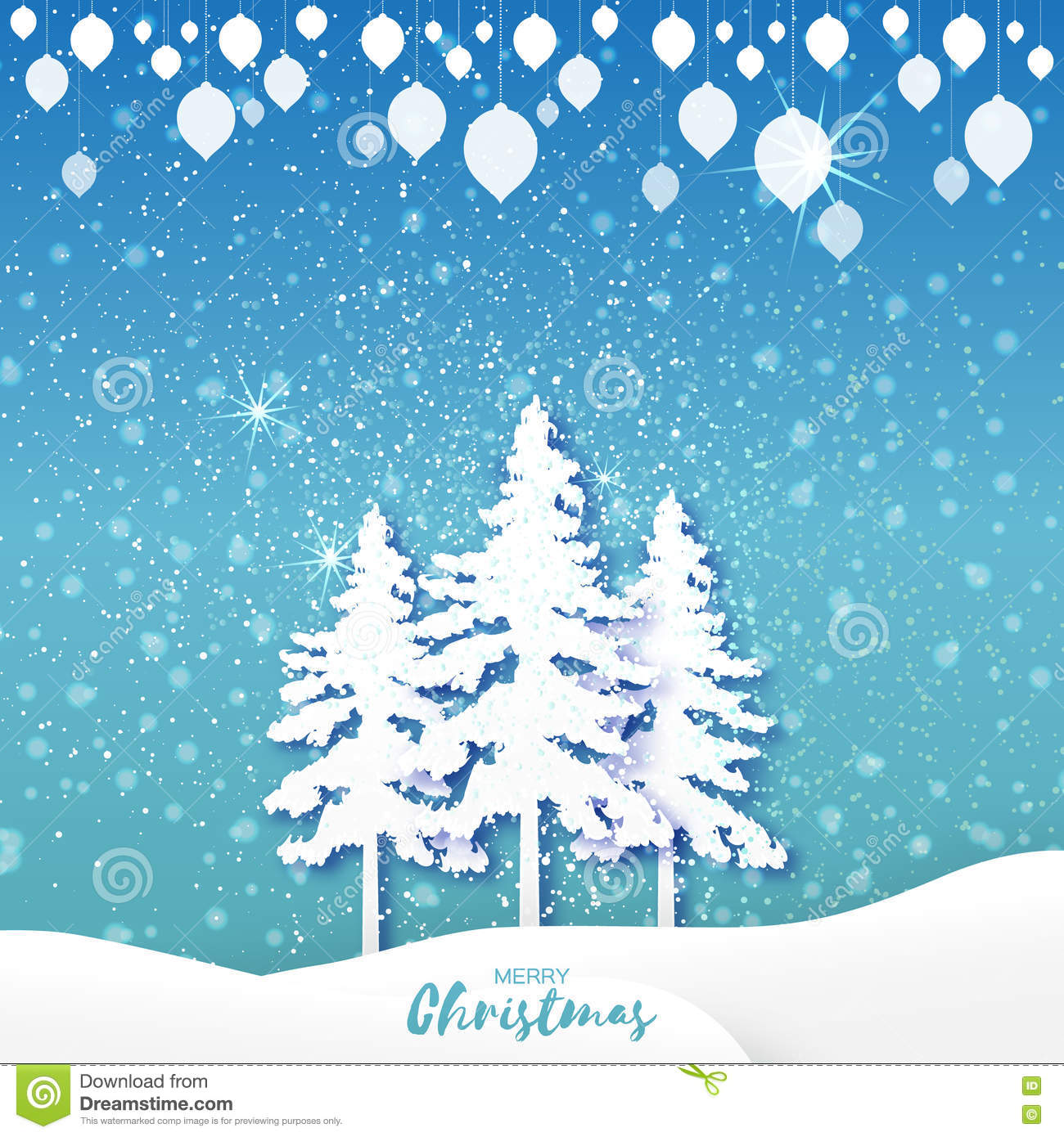 merry christmas greeting card with xmas tree garland and