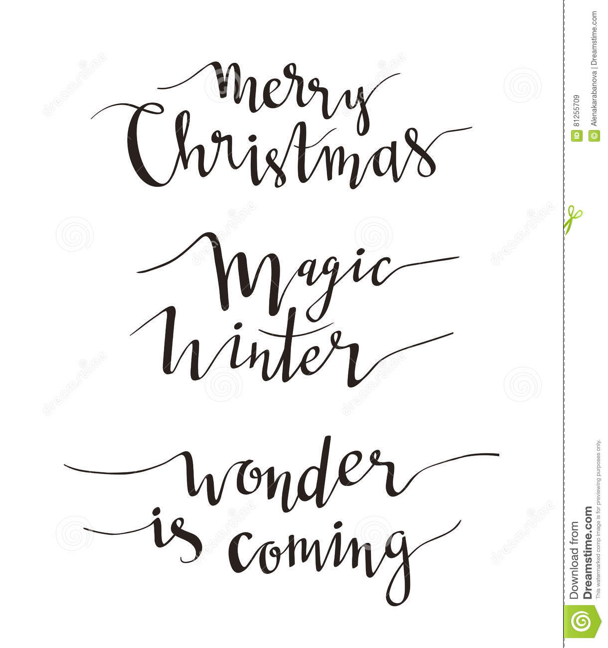 Merry Christmas Greeting Lettering Season Vector Holiday Design Of