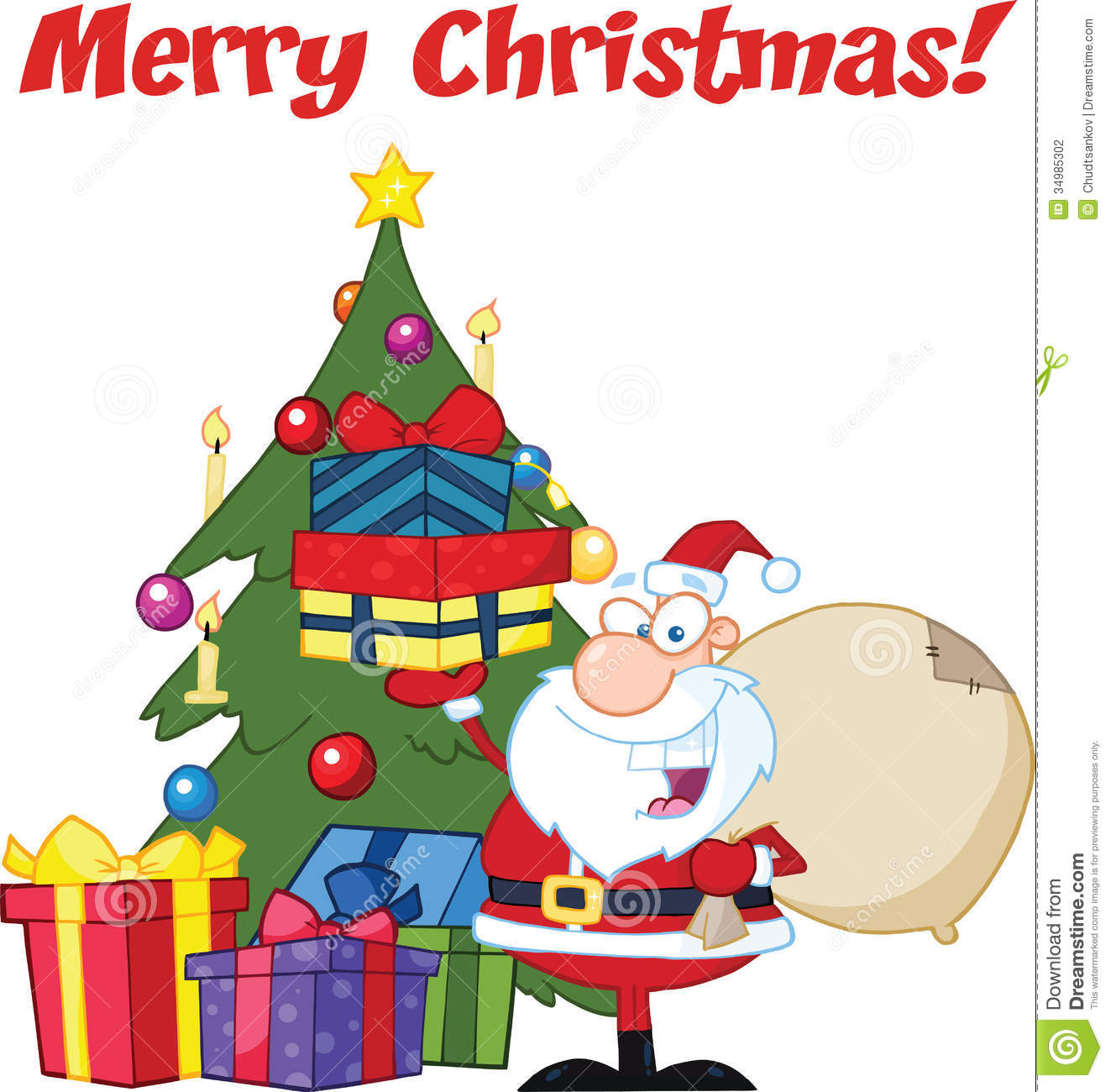 Merry Christmas Greeting With Santa Claus Holding Up A Stack Of ...