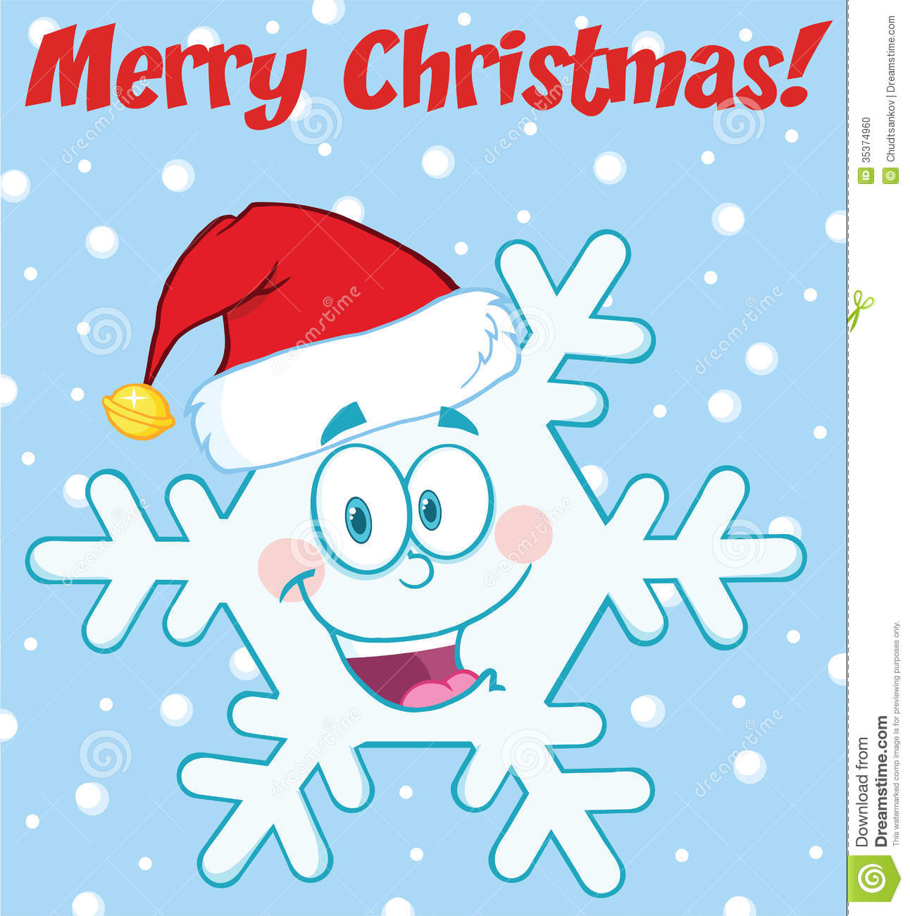 Merry christmas greeting snowflake cartoon character with
