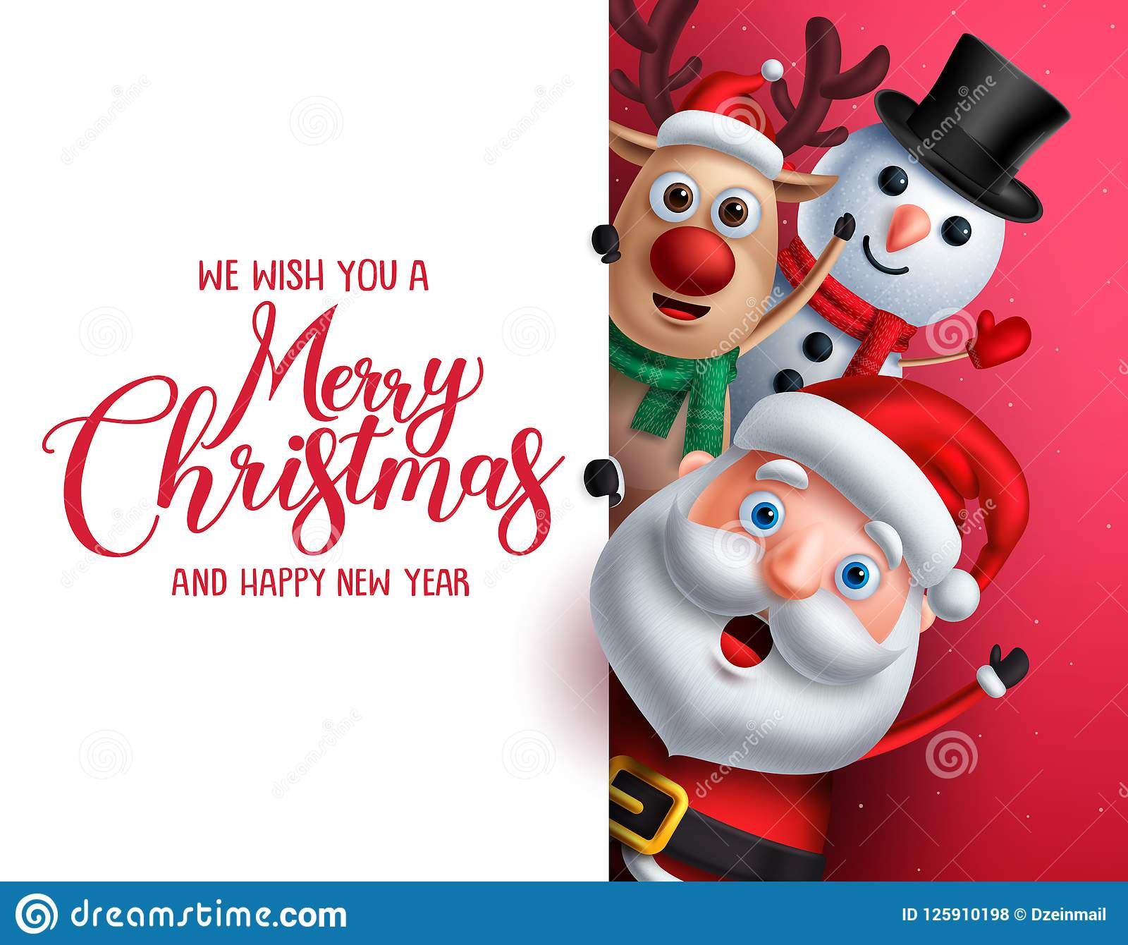 Merry Christmas Greeting Template With Santa Claus, Snowman And ...