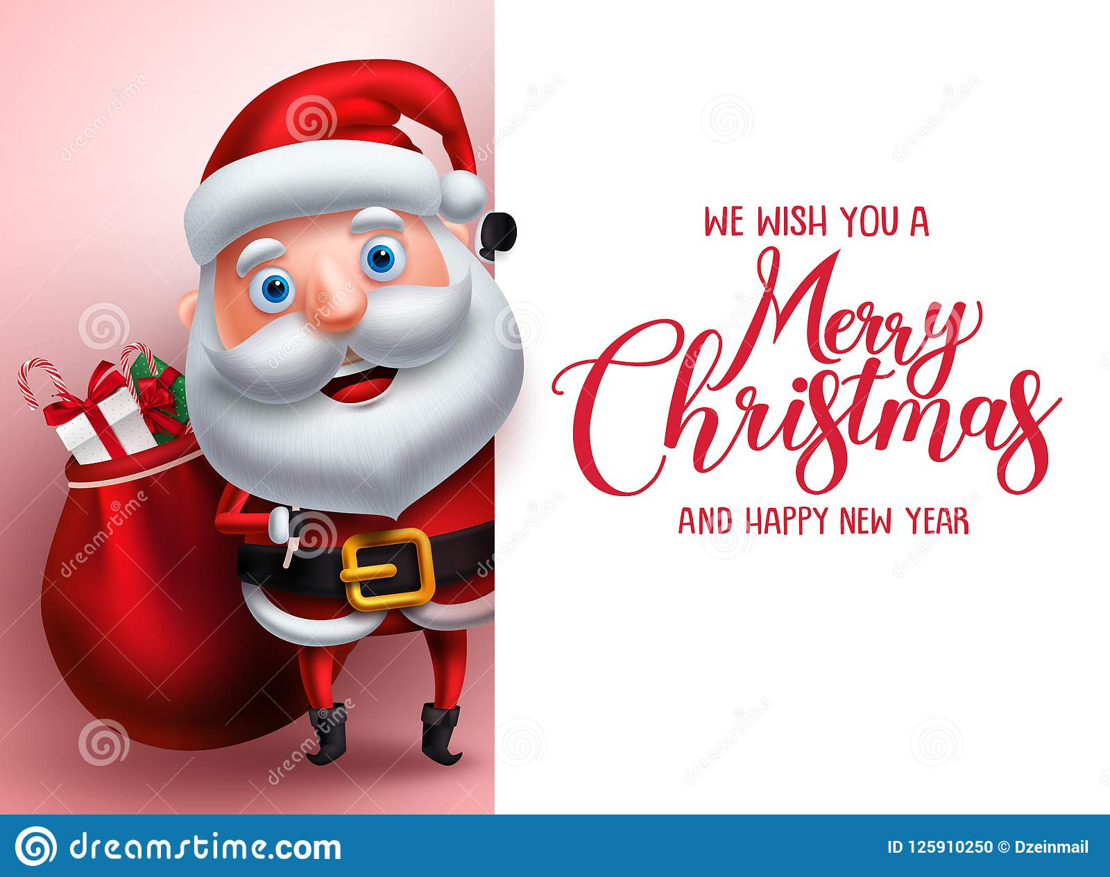 Merry Christmas Greeting Template With Santa Claus Vector Character