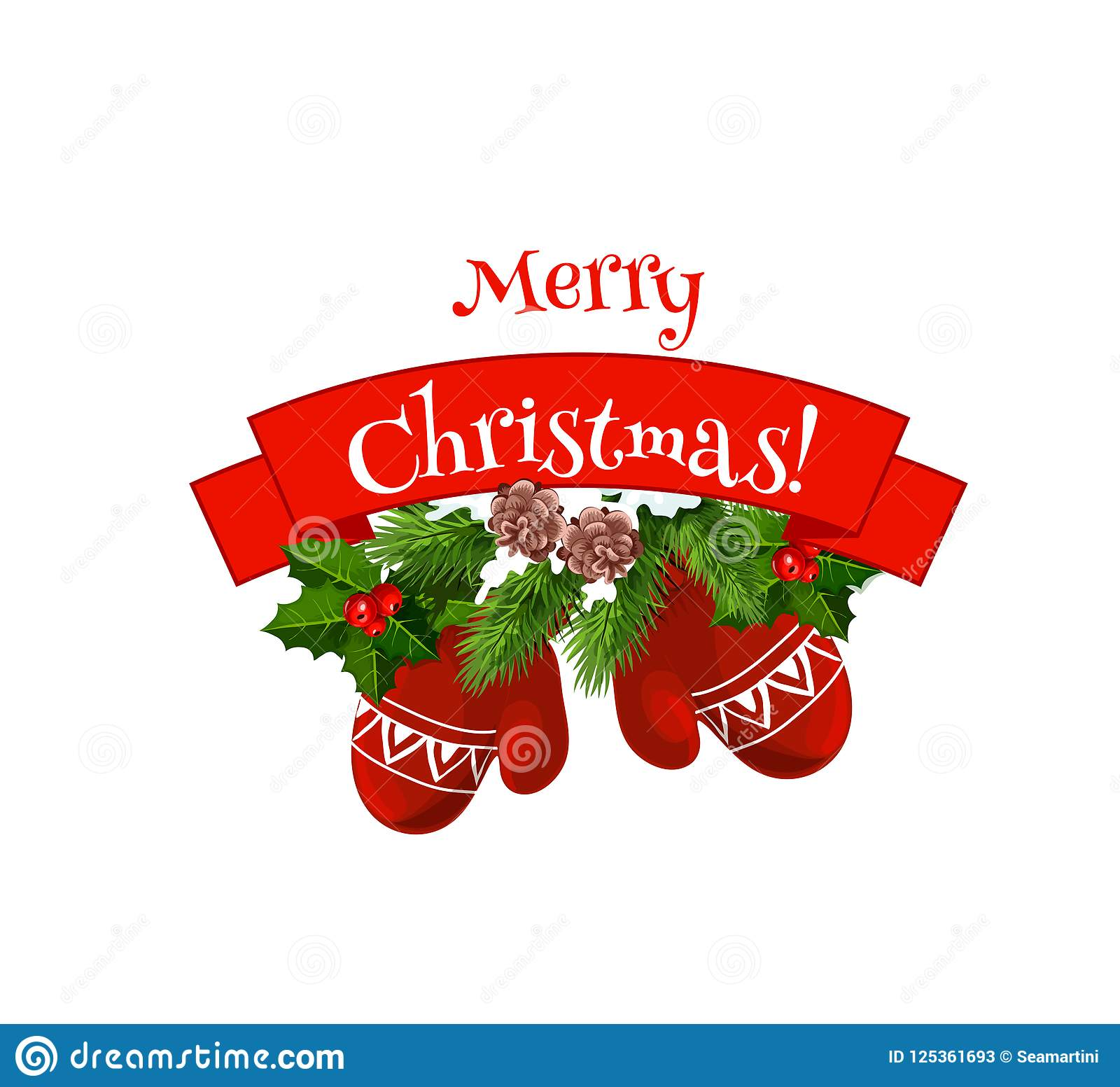 merry christmas mittens on wreath vector icon - Christmas Mittens