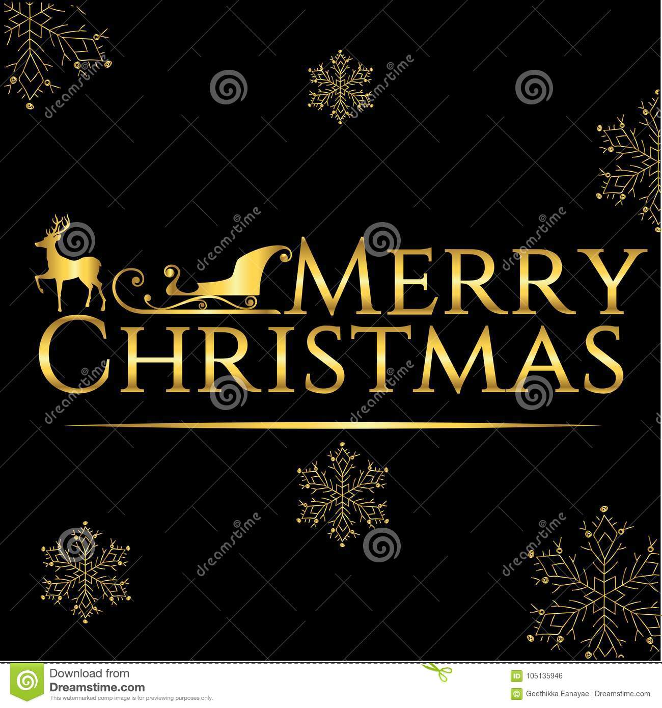 Merry Christmas Greetings Card Black And Gold Stock Vector