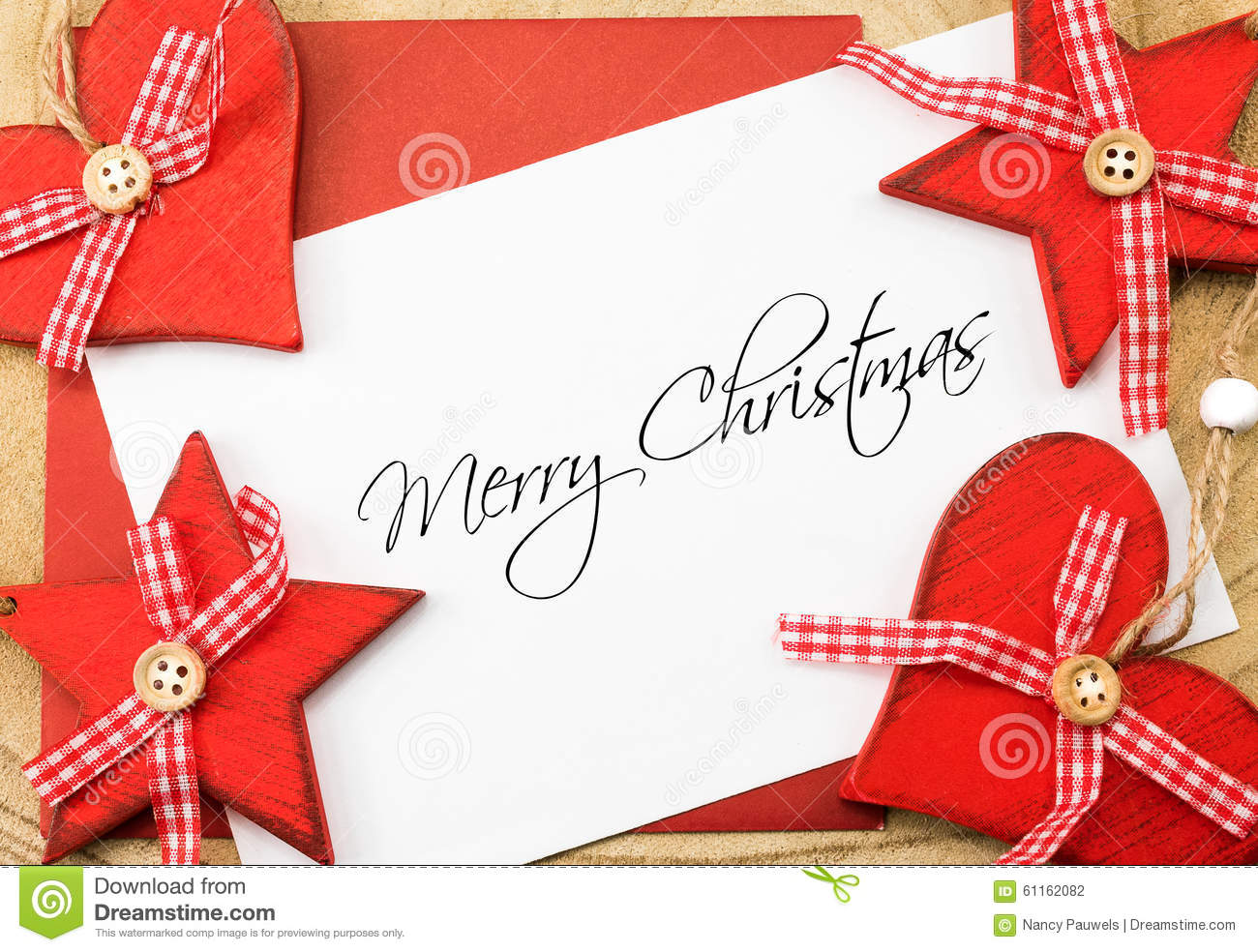 Merry Christmas Greetings Card, Red And White Stock Photo - Image of ...