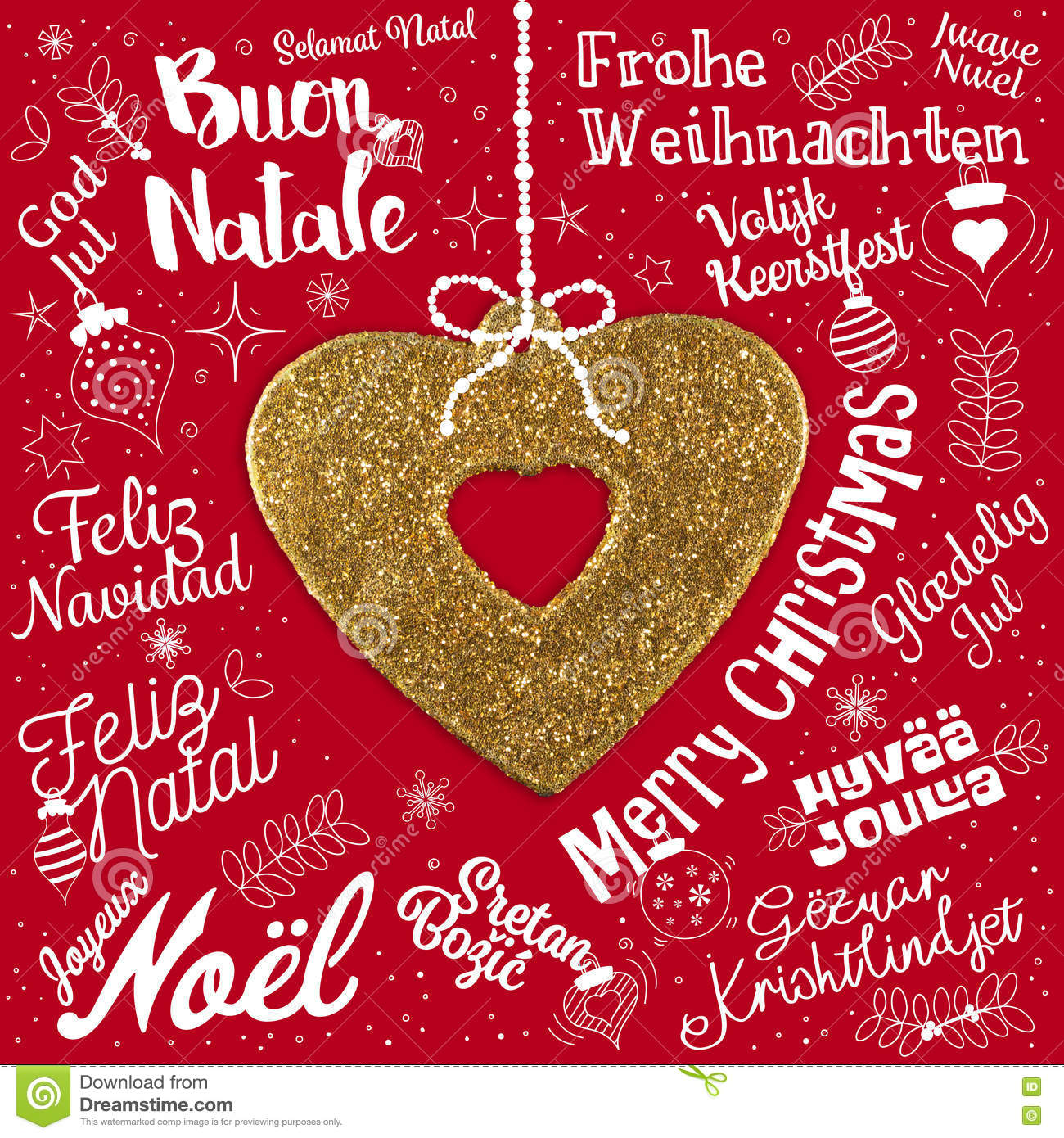 Merry christmas greetings card from world in different languages merry christmas greetings card from world in different languages italian bauble kristyandbryce Images