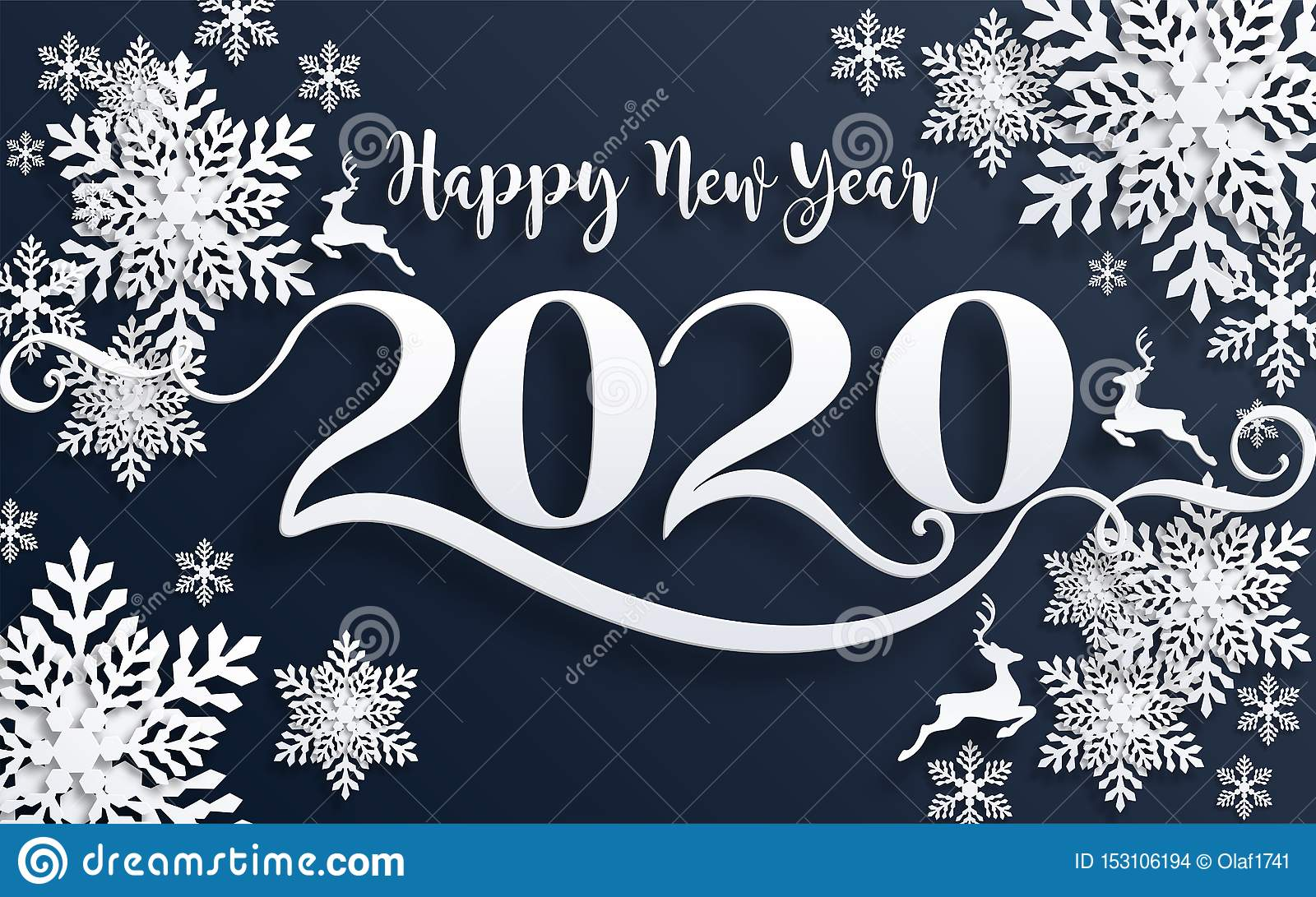 Merry Christmas Greetings And Happy New Year 2020 Stock