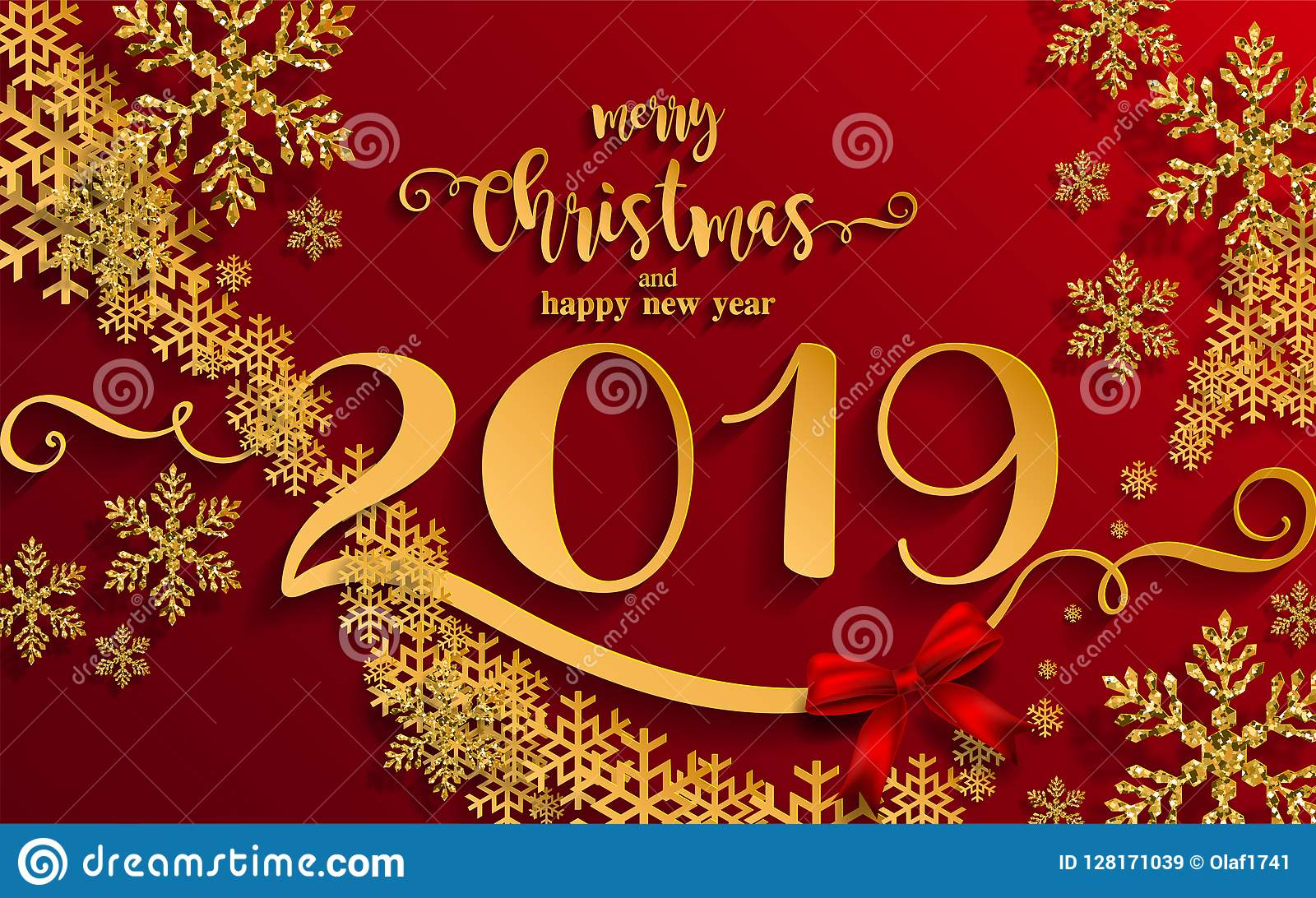 Merry Christmas Greetings And Happy New Year 2019 Stock Vector ...