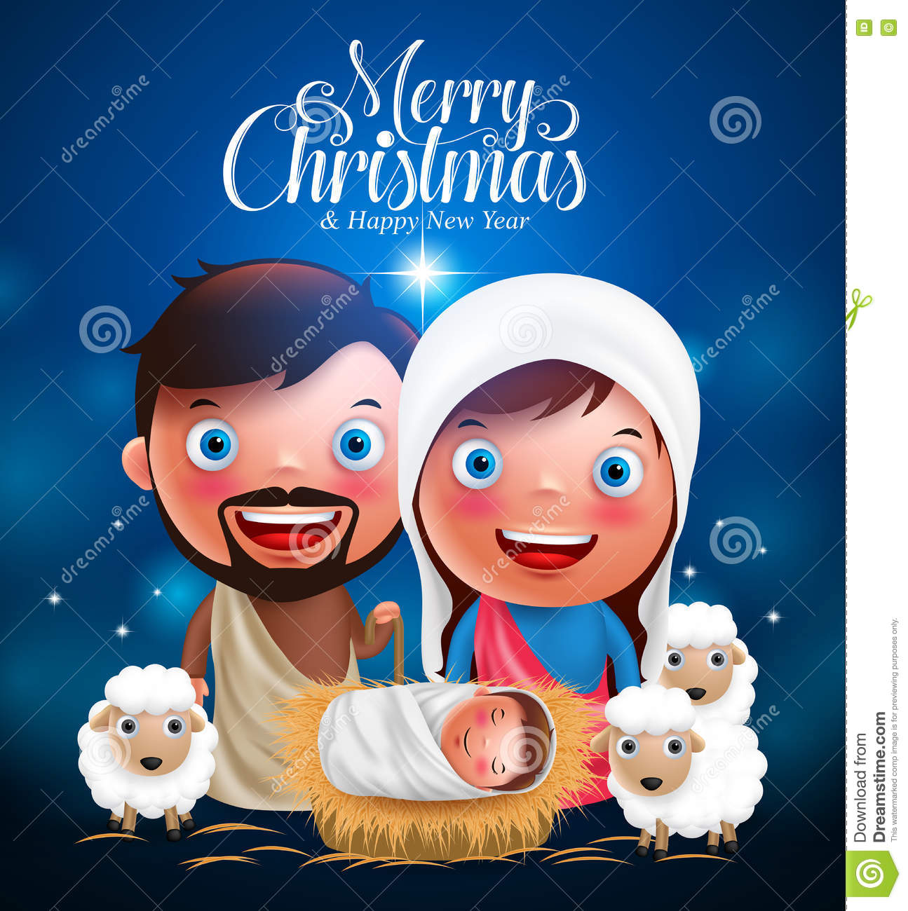 Merry Christmas Greetings With Jesus Born In Manger, Belen With ...