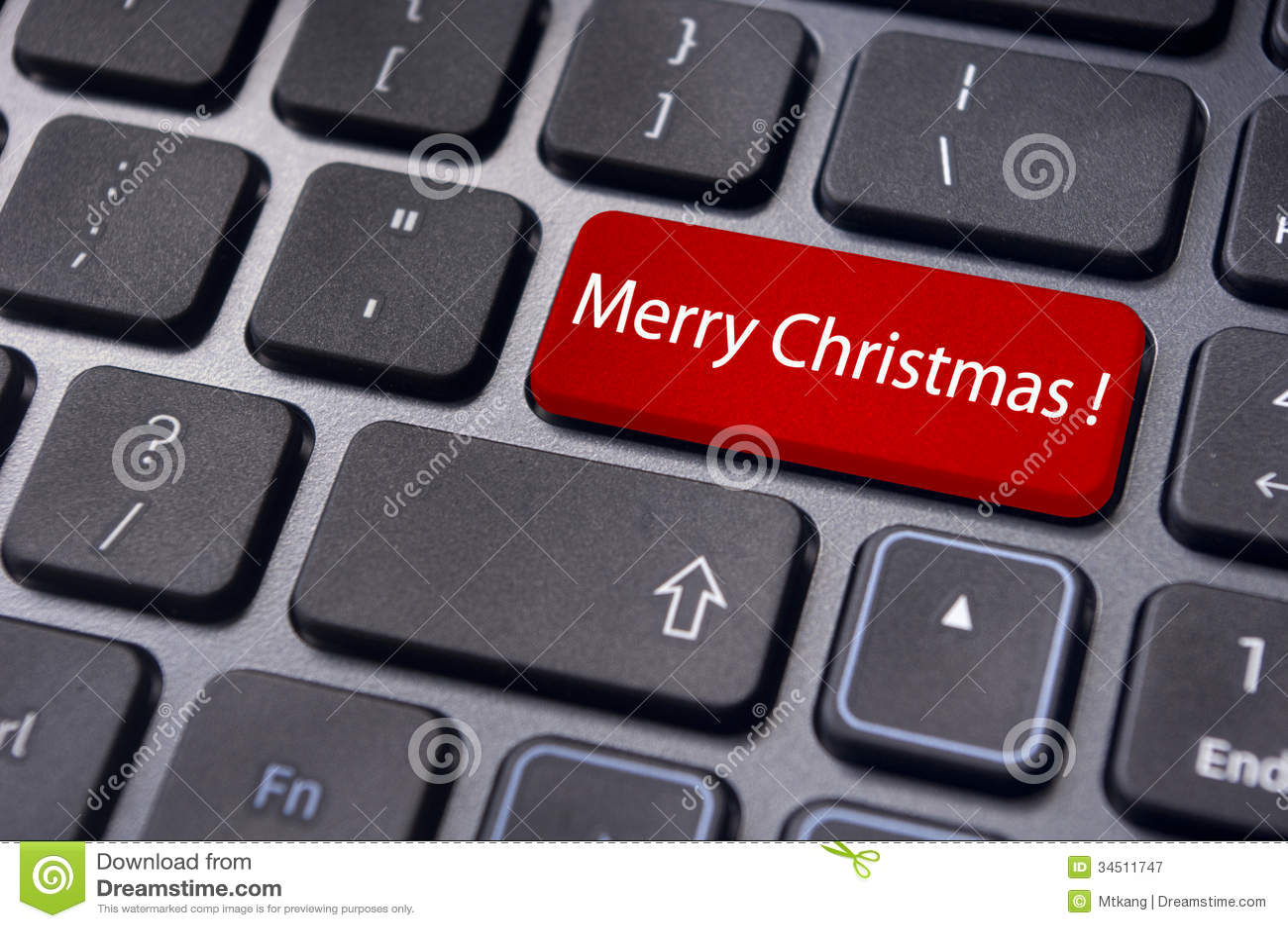 Merry Christmas Greetings On Keyboard Enter Key Stock Illustration