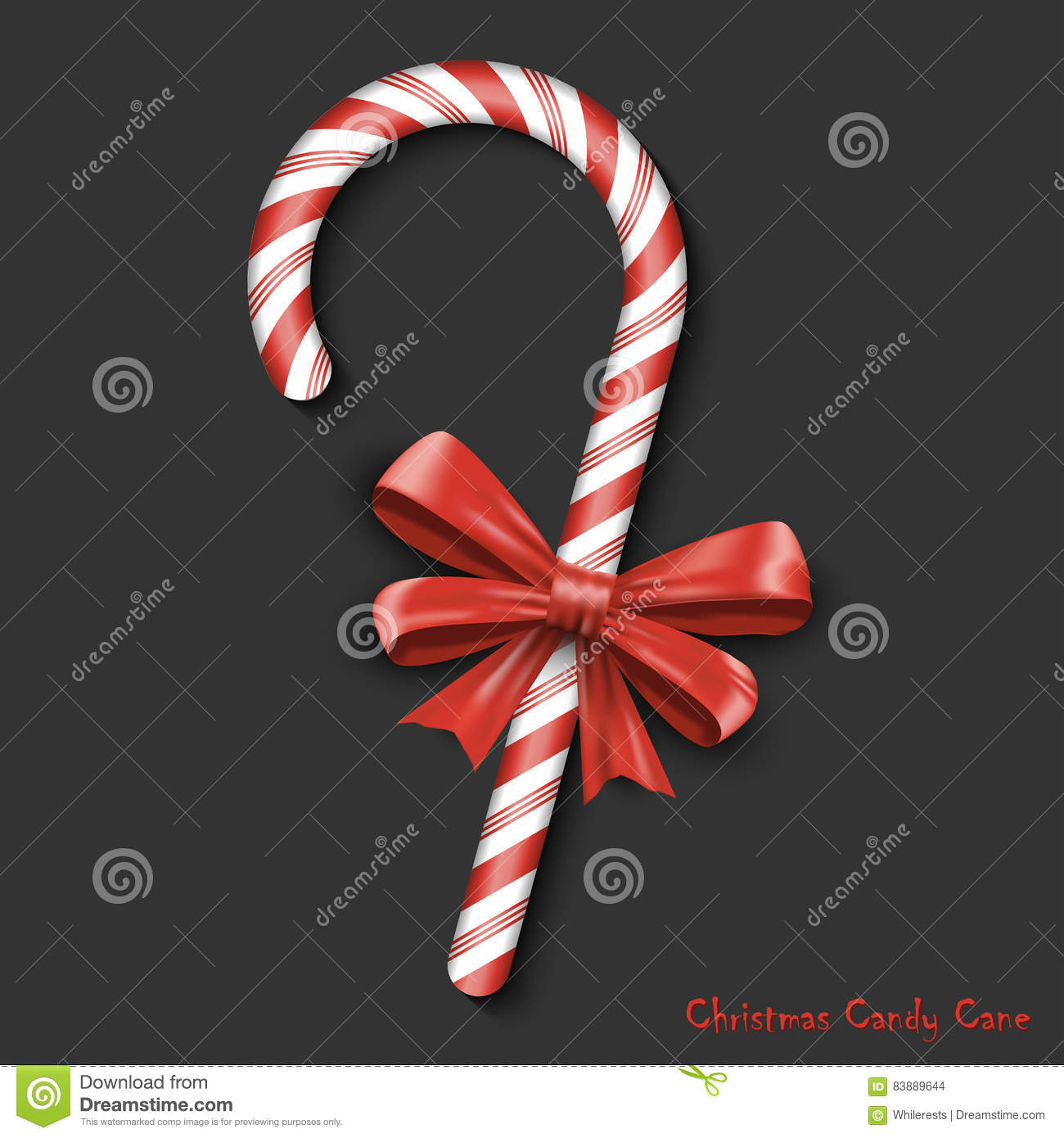 Merry Christmas Greetings In Realistic 3d Red Candy Cane On Black