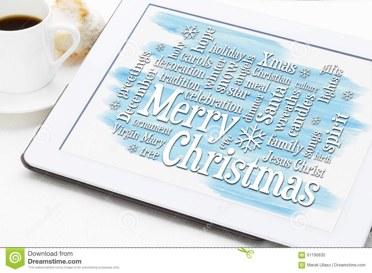 Merry christmas greetings word cloud on tablet stock image image merry christmas greetings word cloud on tablet m4hsunfo