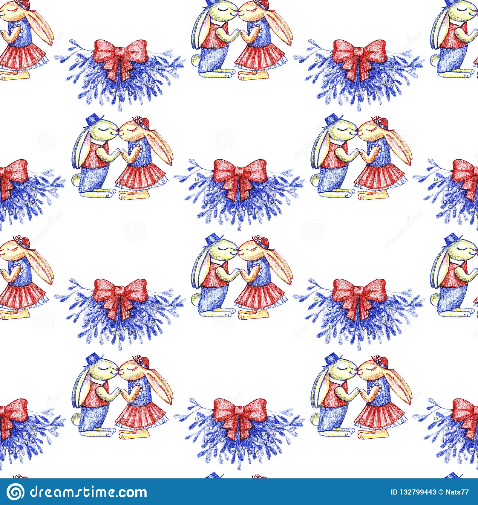 Merry Christmas Hand Draw Illustration. Two Funny Rabbits