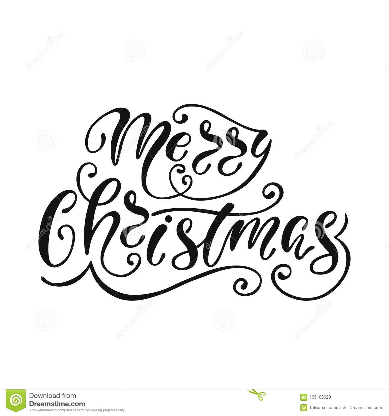 Merry Christmas Images Black And White.Merry Christmas Hand Drawn Calligraphy Text Holiday
