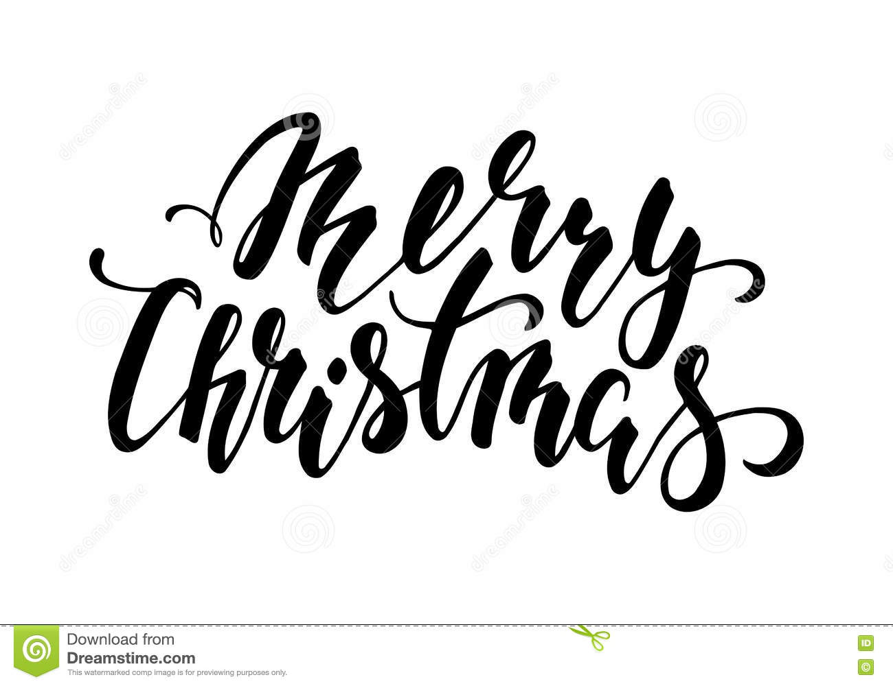 Merry christmas hand drawn creative calligraphy and brush
