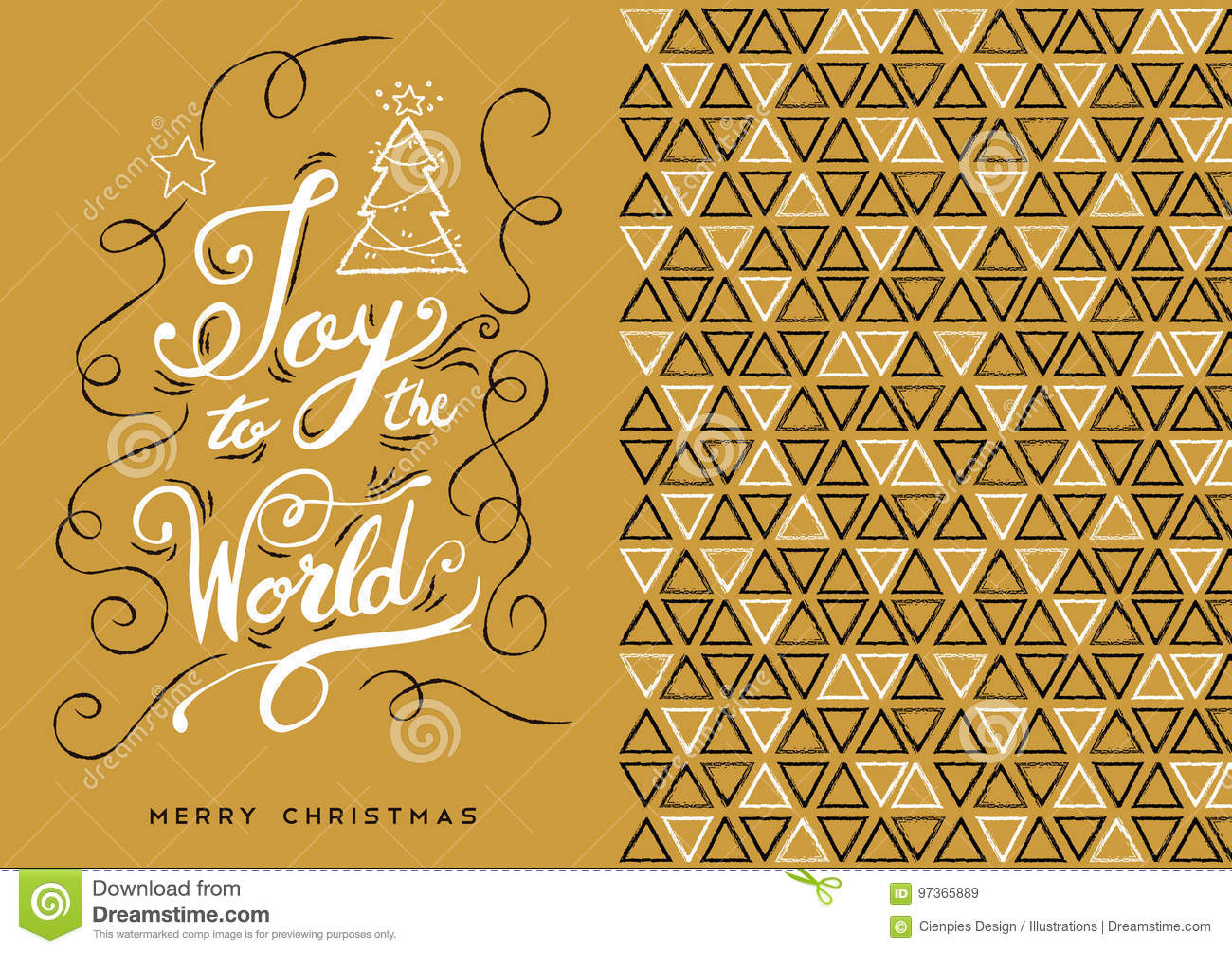 Merry Christmas Hand Drawn Gold Greeting Card Stock Vector ...