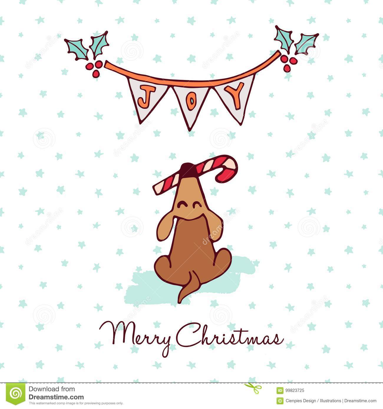 Christmas Cute Puppy Dog Cartoon Greeting Card Stock Vector Illustration Of Greeting Candy 99823725