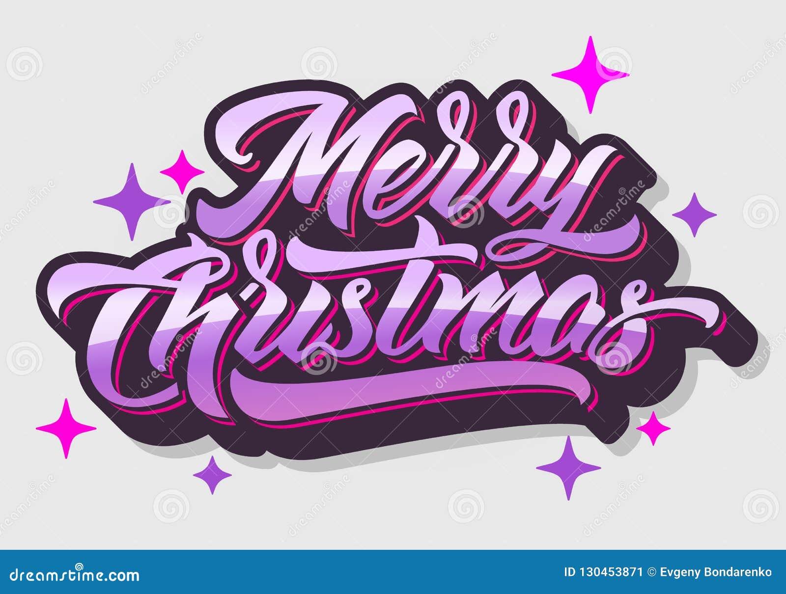 Christmas Graffiti Background.Merry Christmas 2019 Hand Lettering Stock Illustration