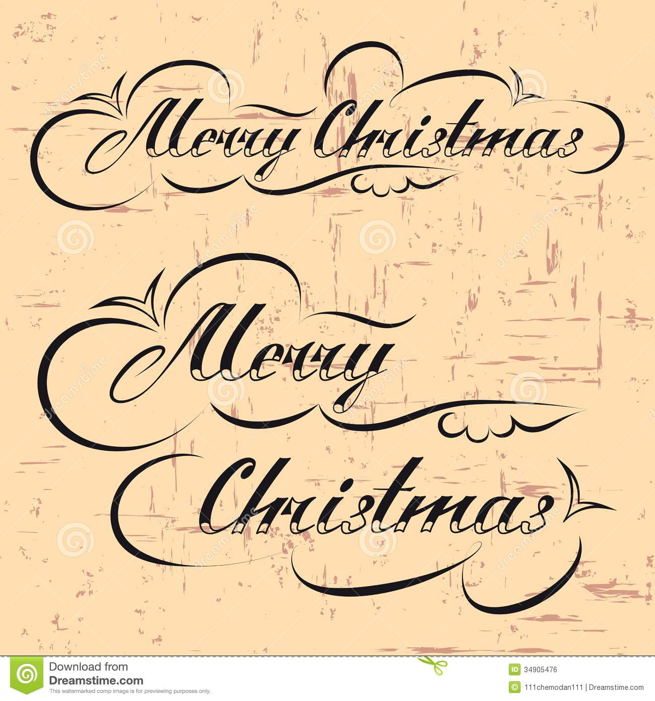 Merry christmas hand lettering stock illustration image