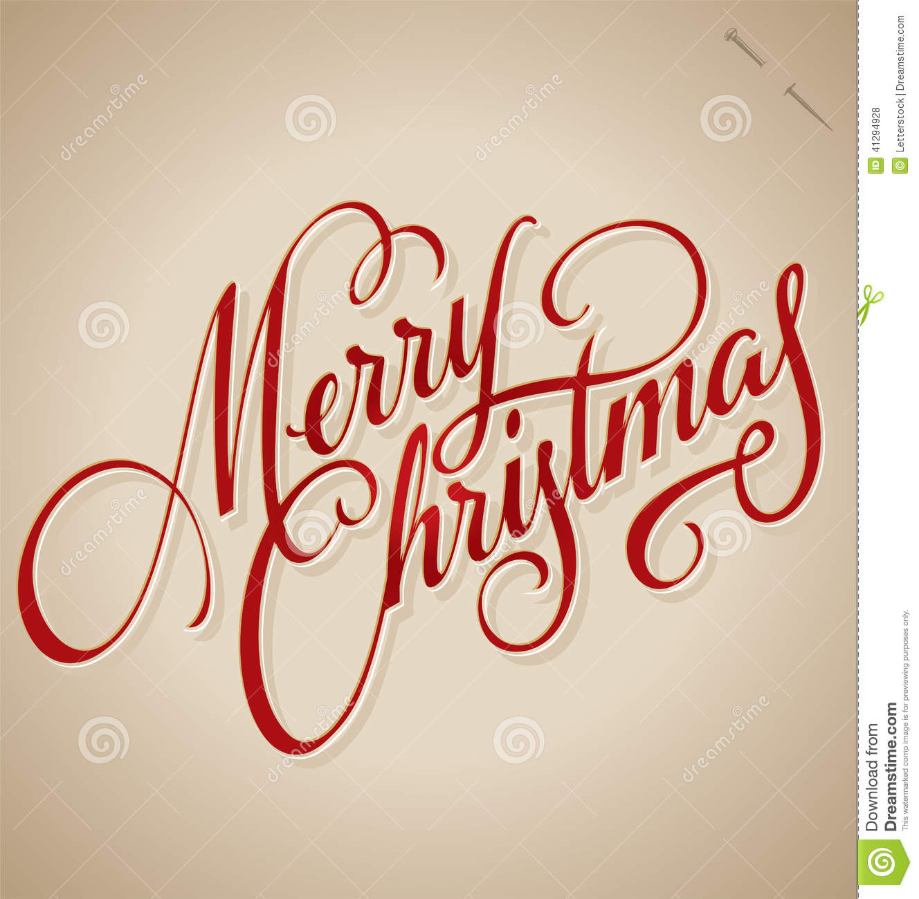 Merry Christmas Calligraphy.Merry Christmas Hand Lettering Vector Stock Vector