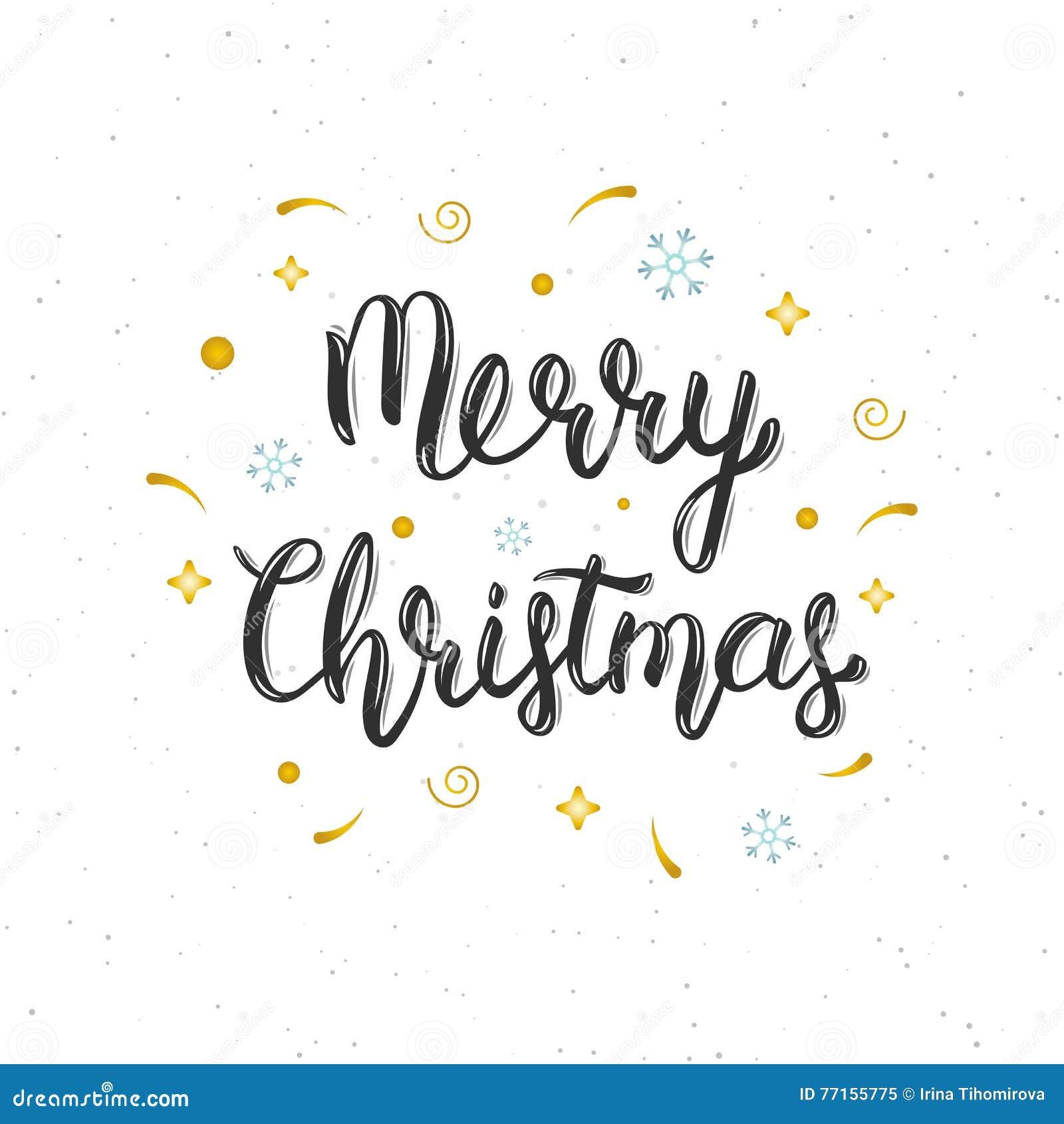 Merry christmas hand written modern brush lettering