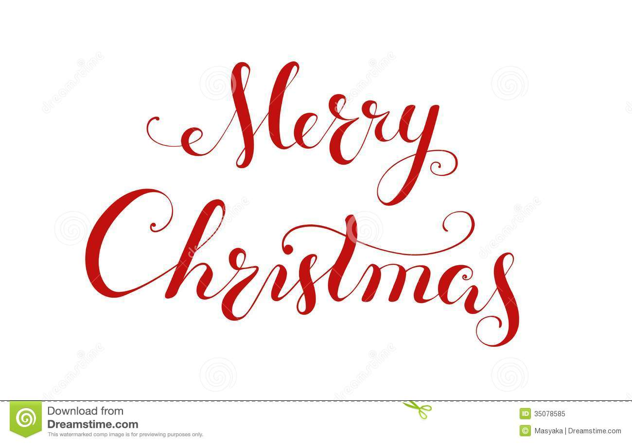 Merry christmas handwriting lettering royalty free stock