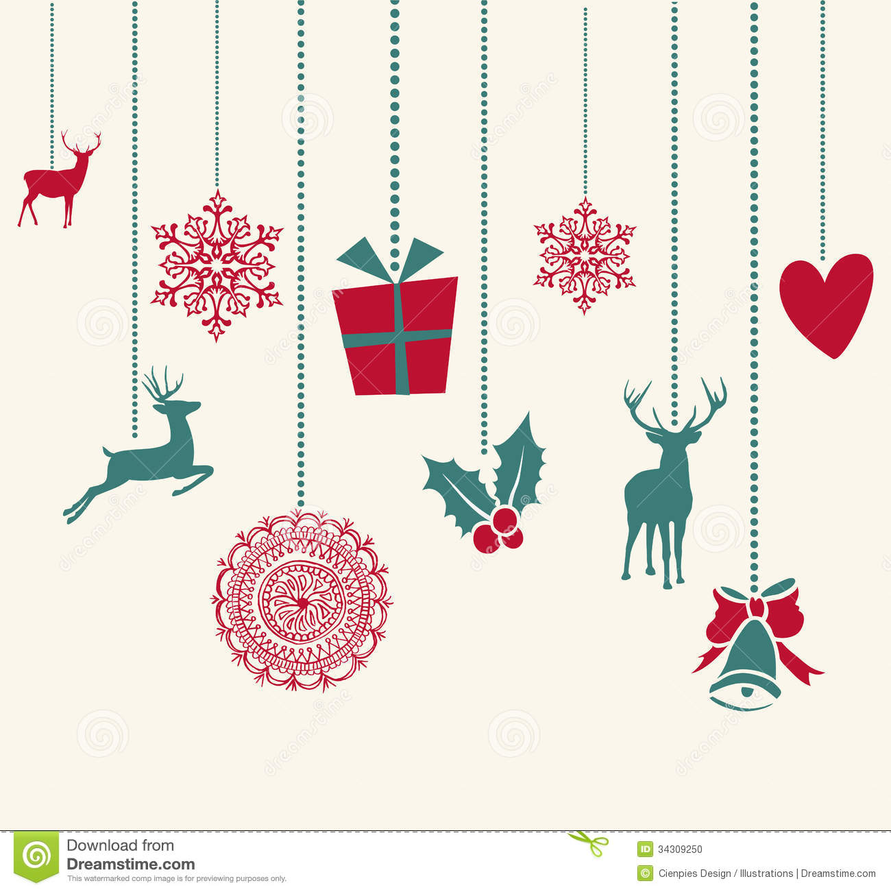 Merry christmas hanging decoration elements compos stock for Decoration elements