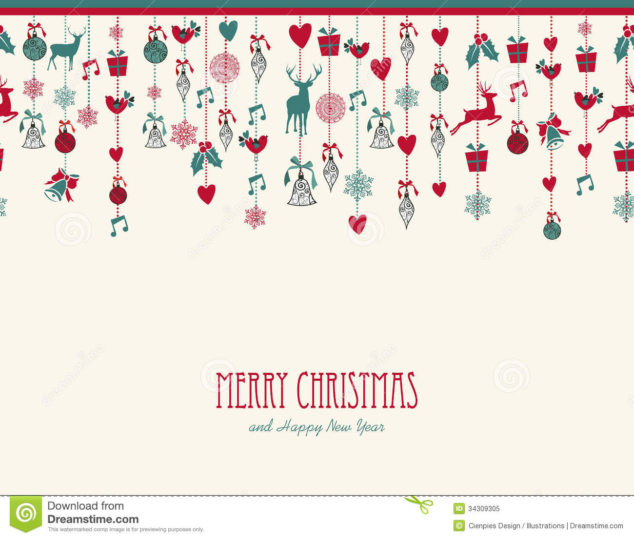 Merry Christmas hanging elements decoration compos