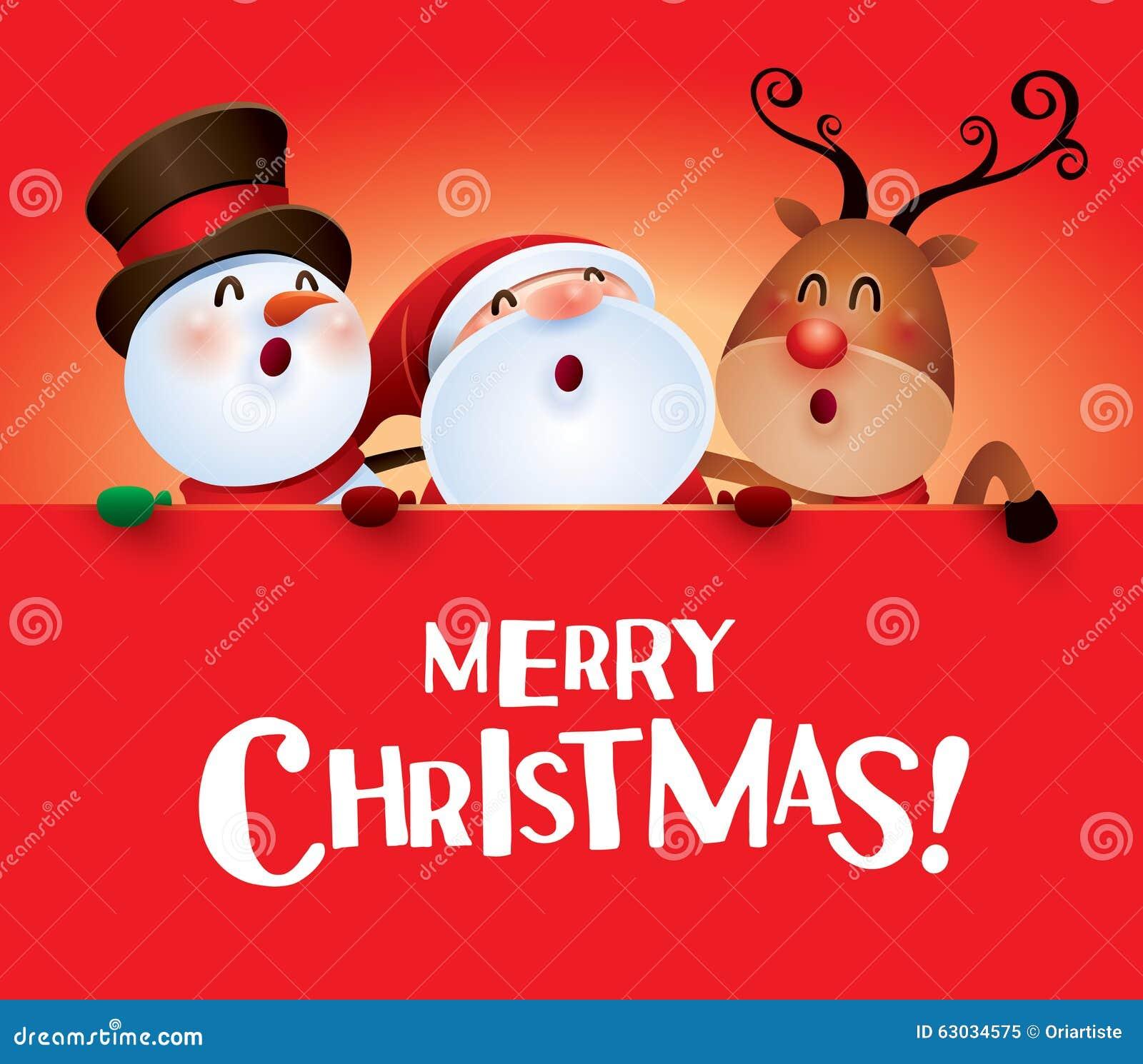 Merry Christmas! Happy Christmas Companions With Big Sign