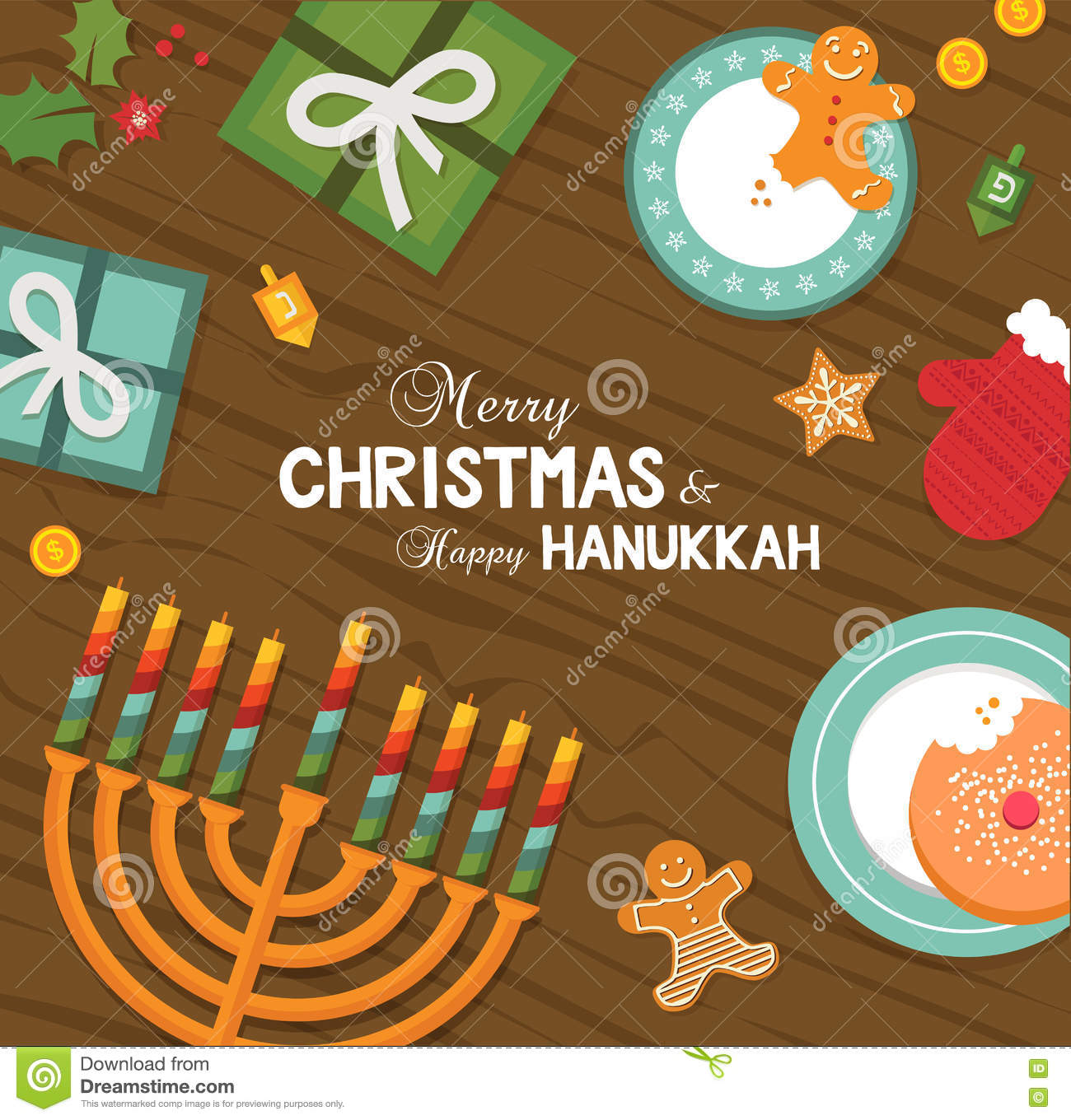 merry christmas and happy hanukkah celebration