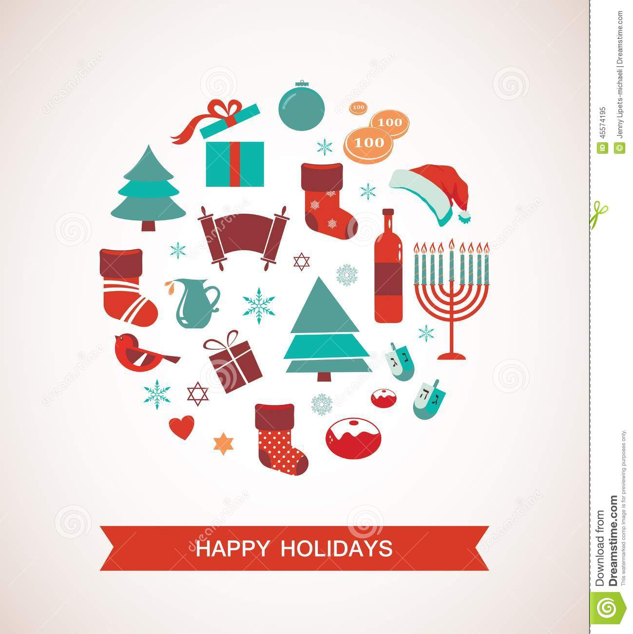 Merry Christmas And Happy Hanukkah. Seasonal Objects Stock ...