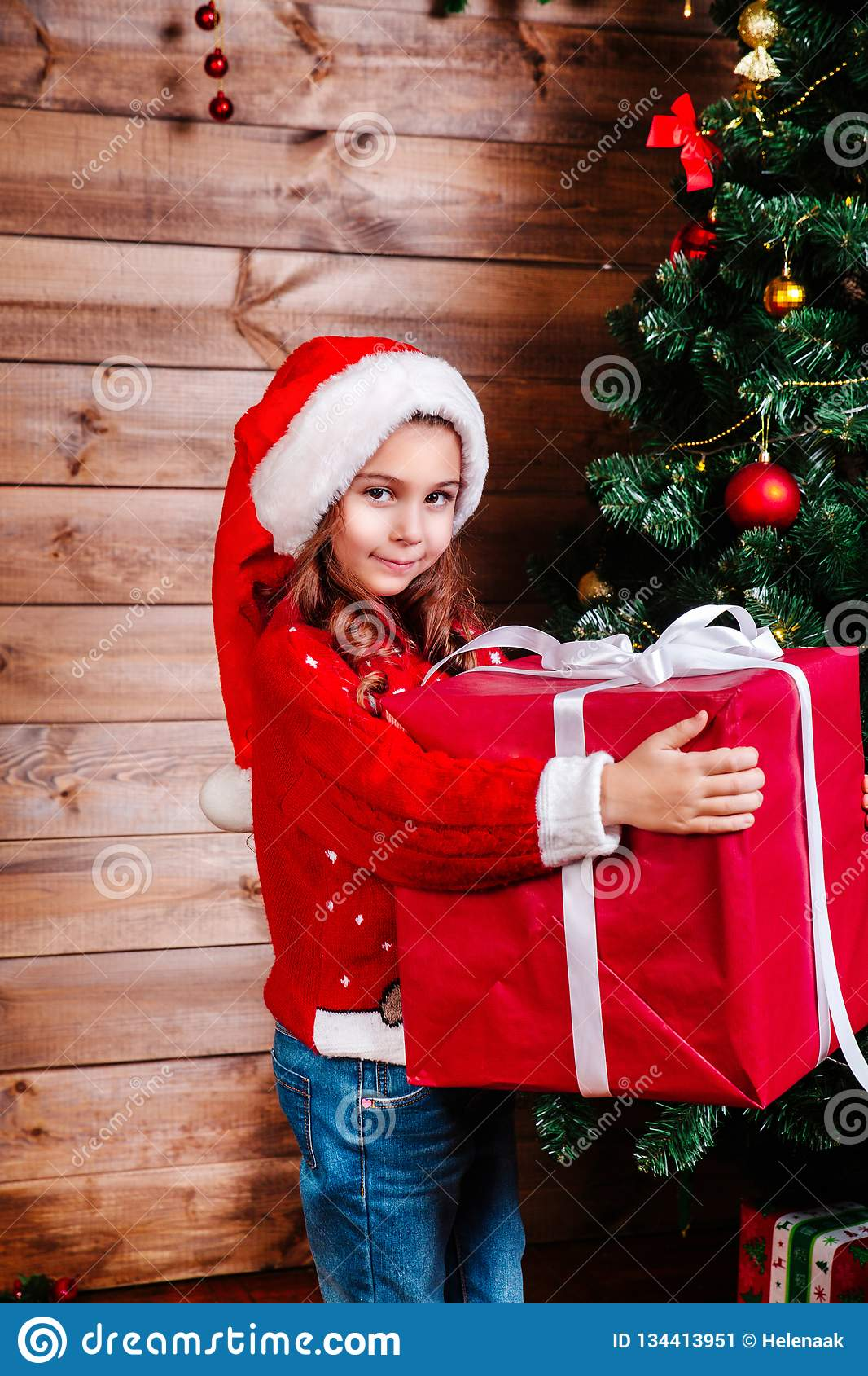 Merry Christmas And Happy Holiday. Cute Little Child Girl ...