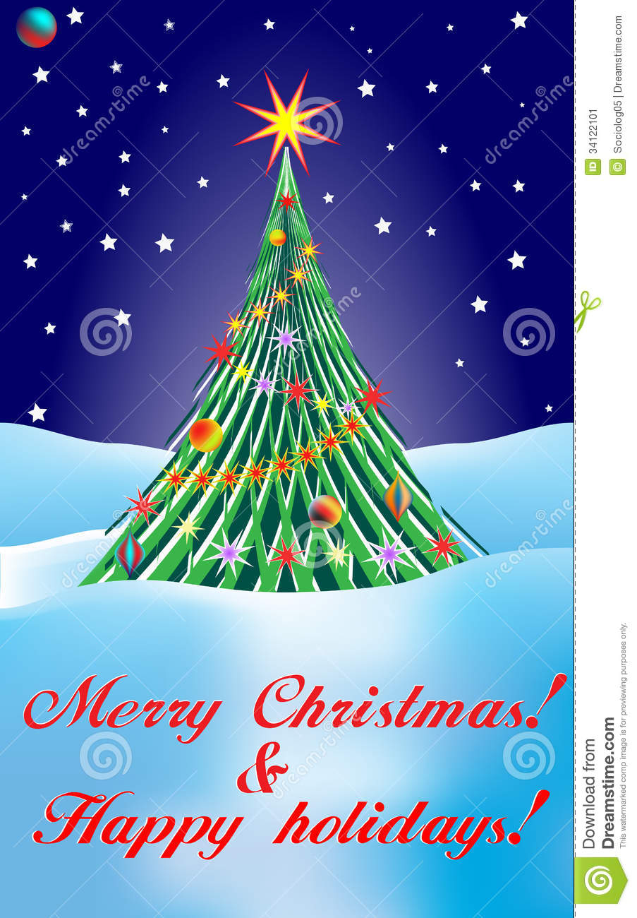 Merry Christmas & Happy Holidays Stock Image - Image: 34122101