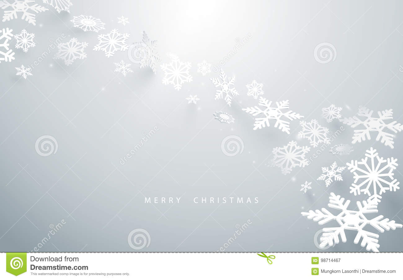 Merry Christmas and Happy new year. Abstract snowflakes in white background