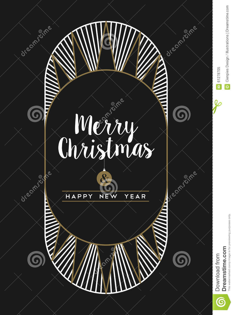 merry christmas happy new year art deco frame card