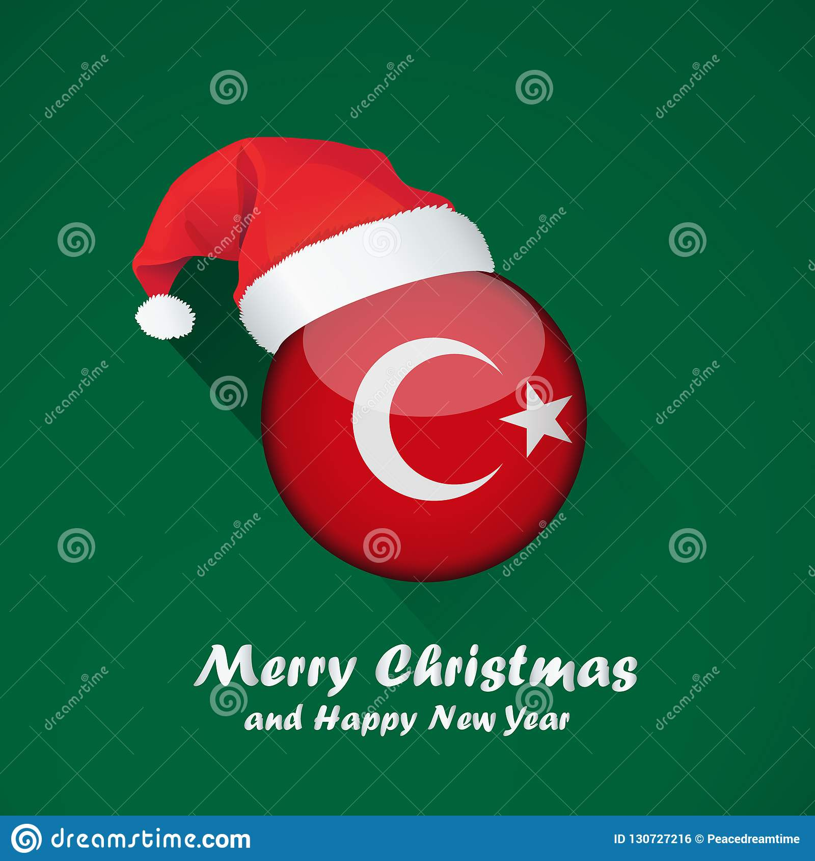 merry christmas and happy new year background design with glossy round flag of turkey vector illustration