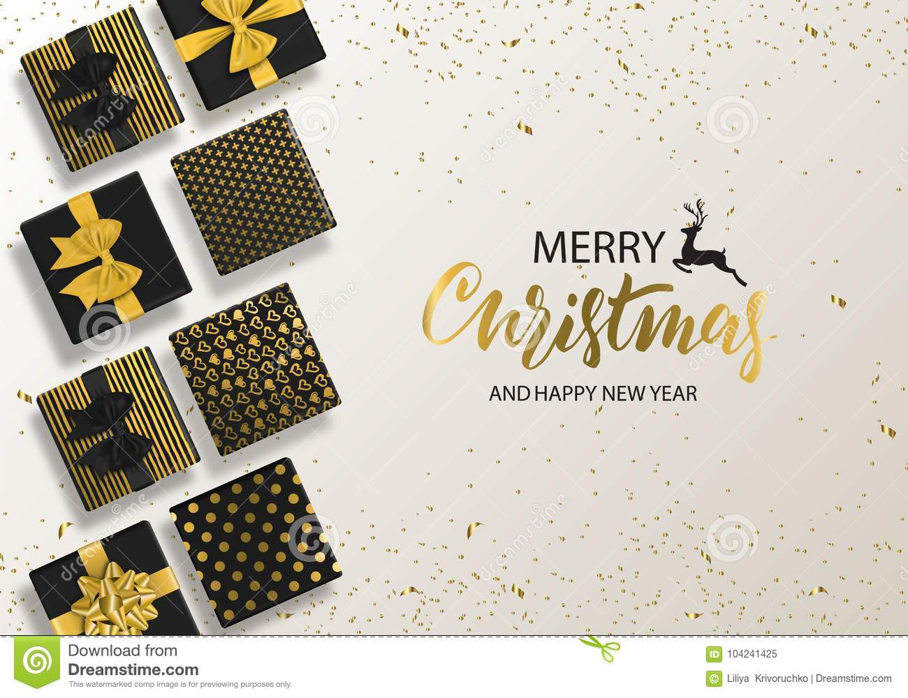 merry christmas and happy new year background with gift box and confetti modern design