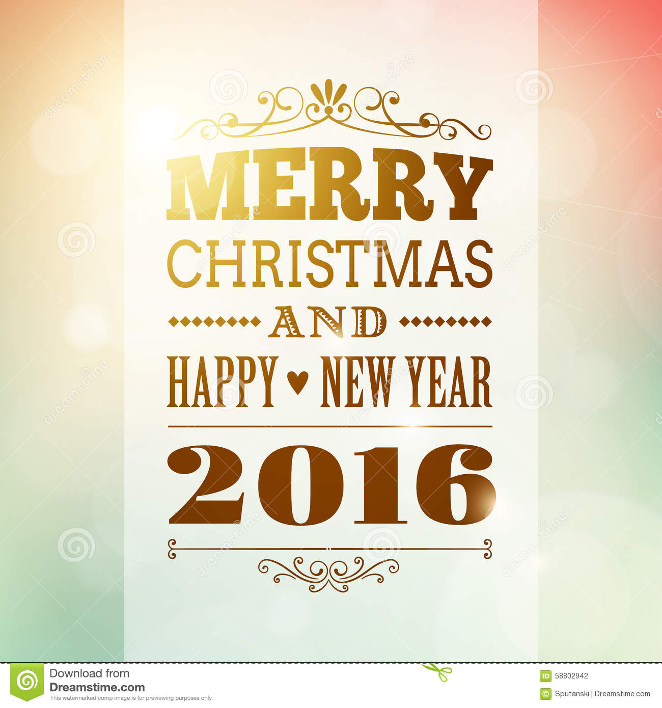 Merry Christmas And Happy New Year 2016 Background Stock Vector