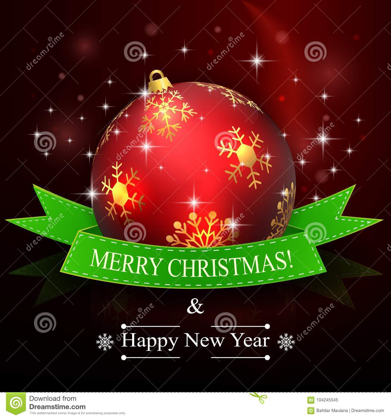 merry christmas and happy new year background with red ball and ribbon